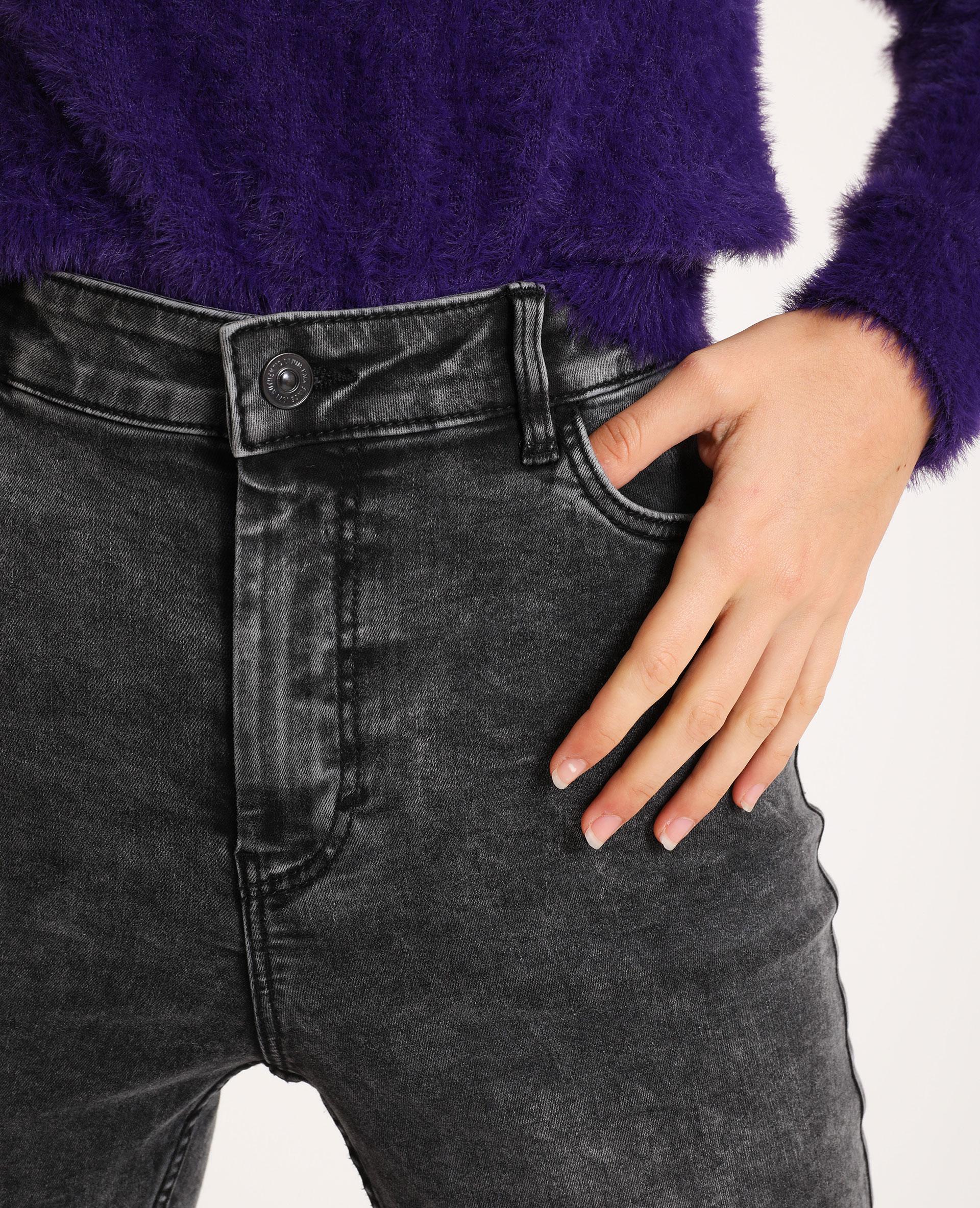 Jean skinny taille haute gris usé - Pimkie