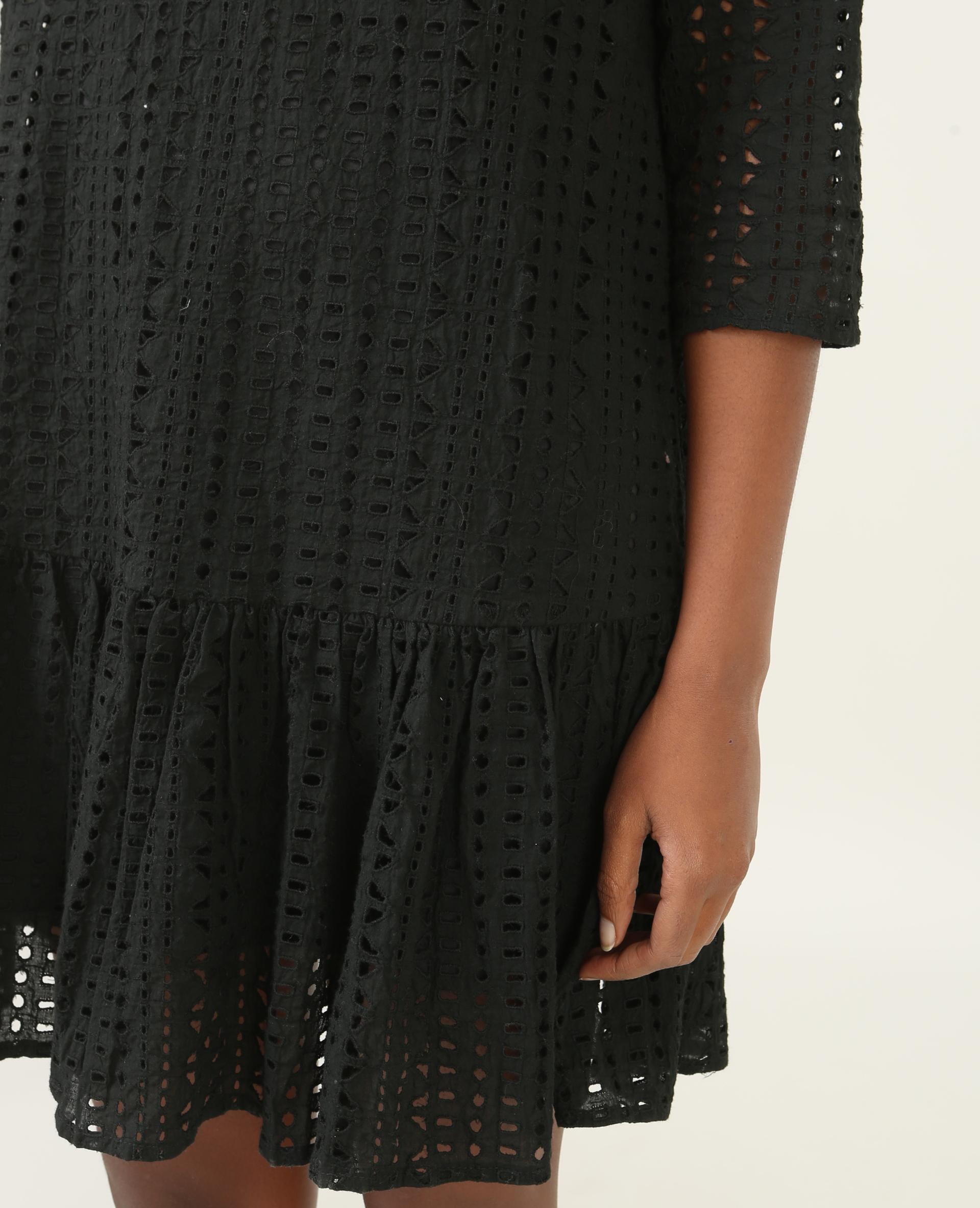 Robe guipure à basque noir - Pimkie