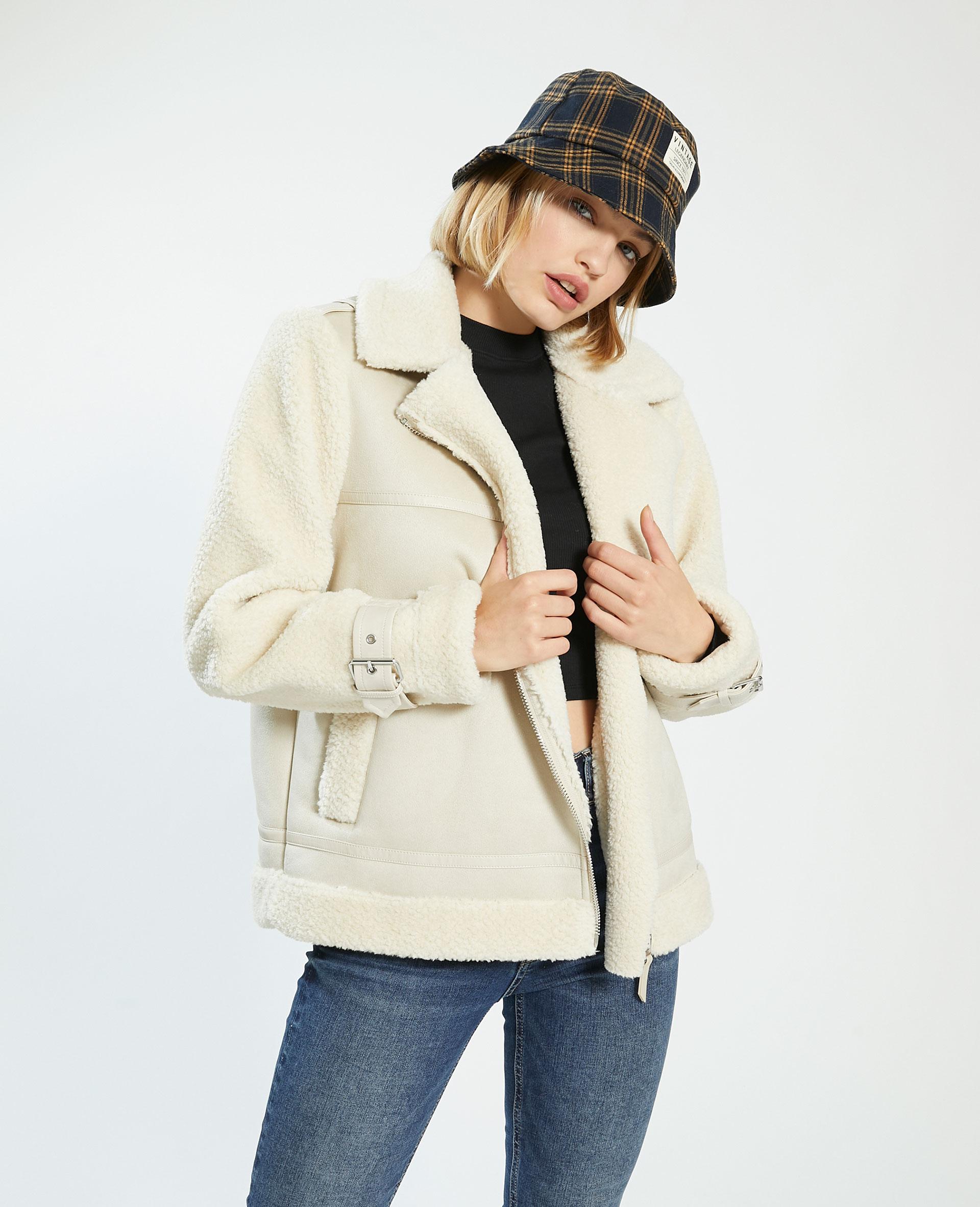 Manteau court en simili cuir et fausse fourrure blanc - Pimkie