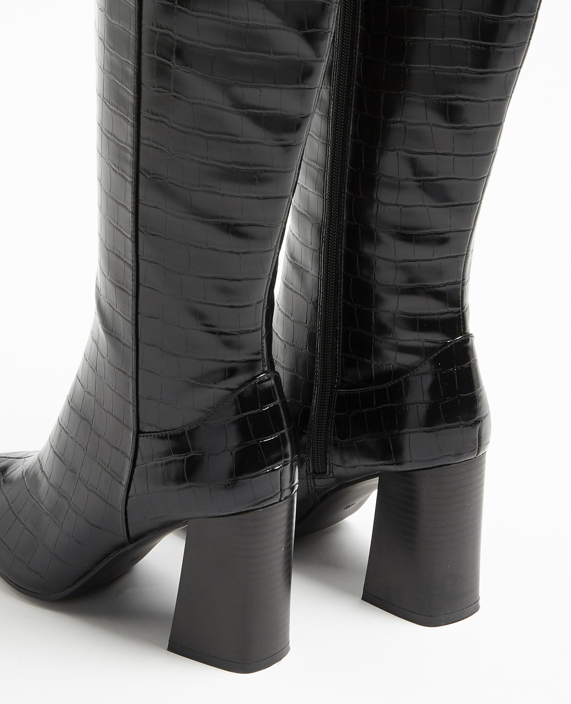 Bottes hautes croco noir - Pimkie