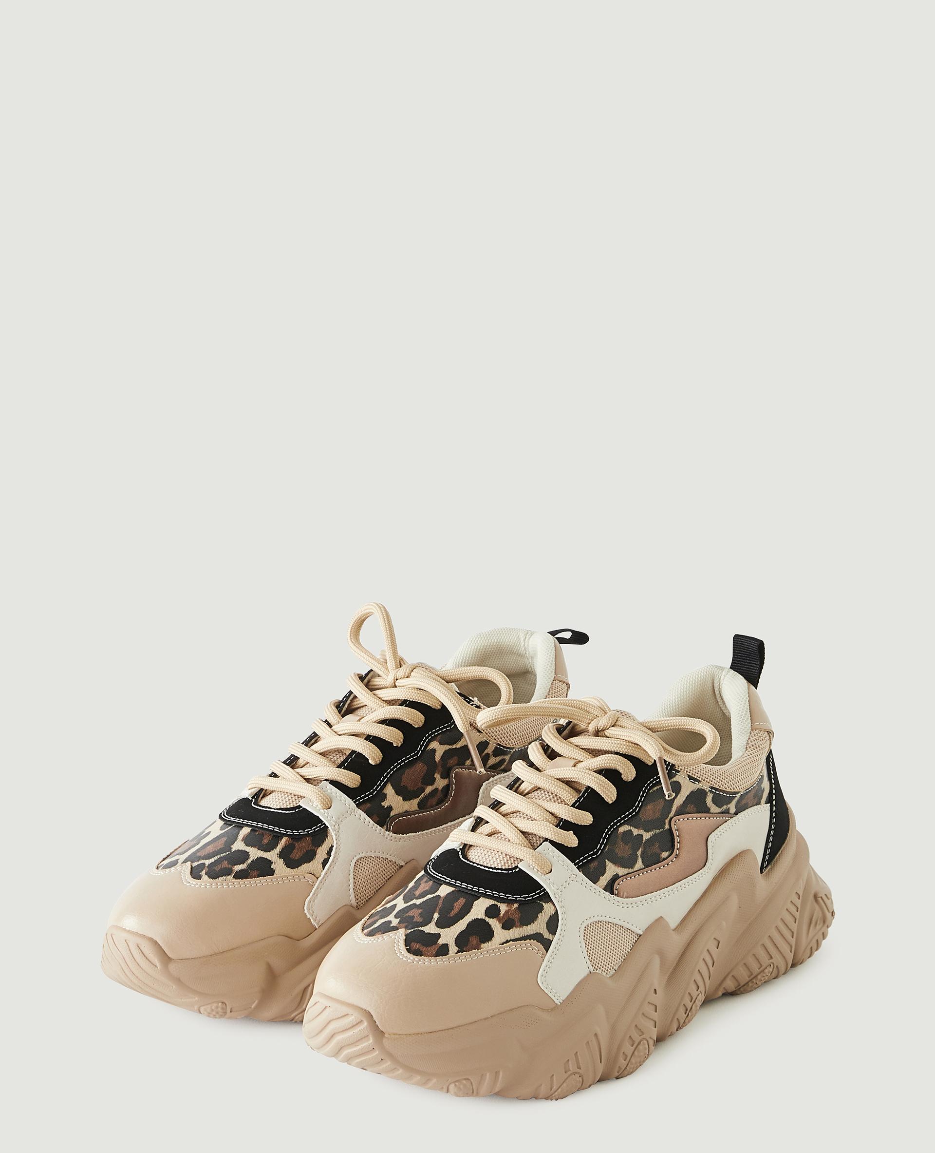 Baskets compensées léopard beige - Pimkie