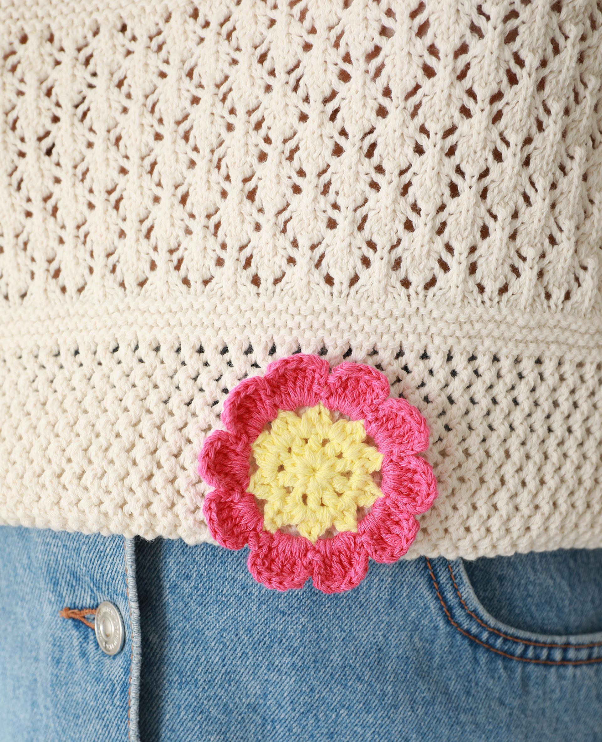 Pull en crochet blanc - Pimkie