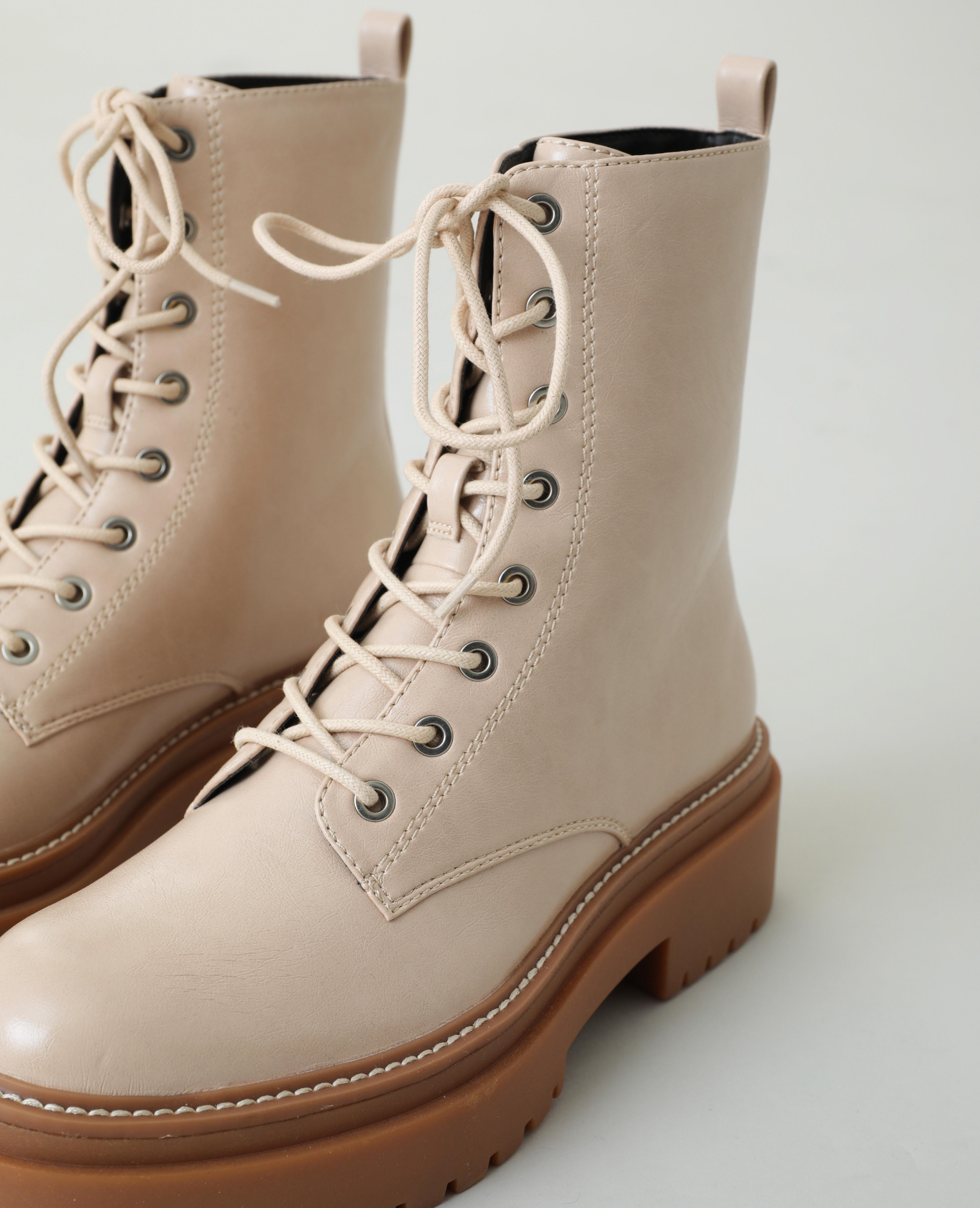 Boots rock simili cuir beige - Pimkie