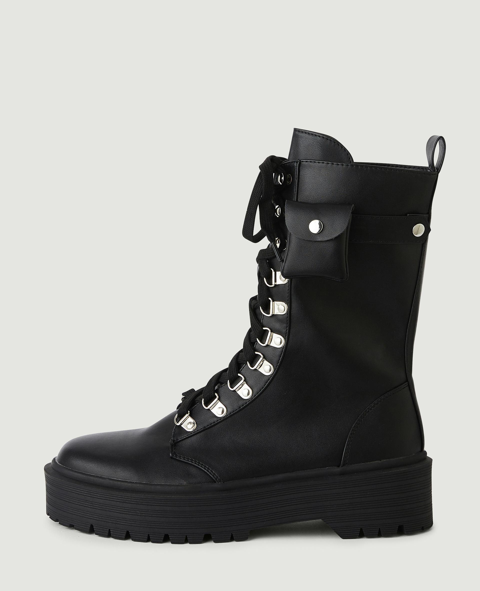 Bottines simili cuir style rangers noir - Pimkie