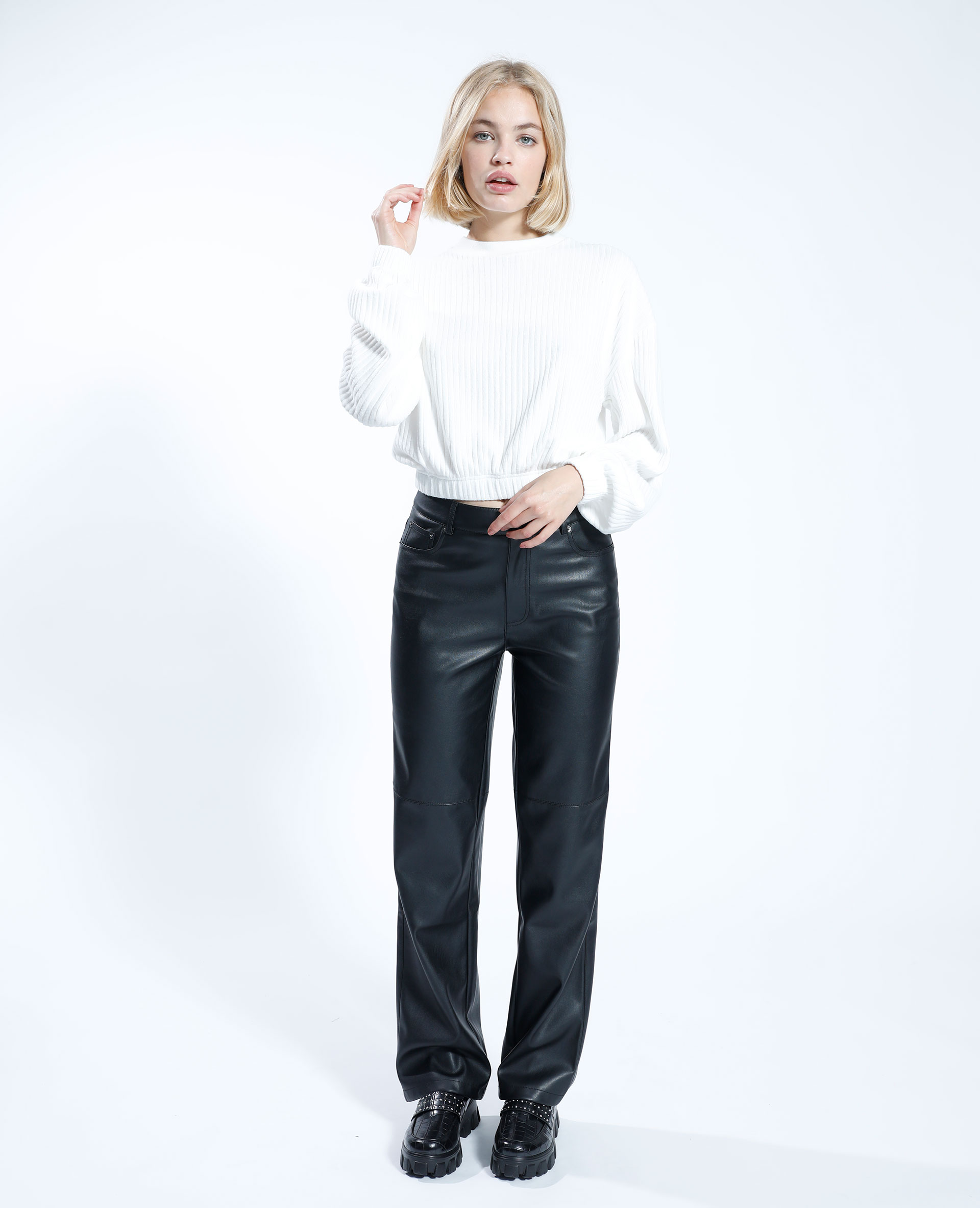 T-shirt côtelé blanc cassé - Pimkie