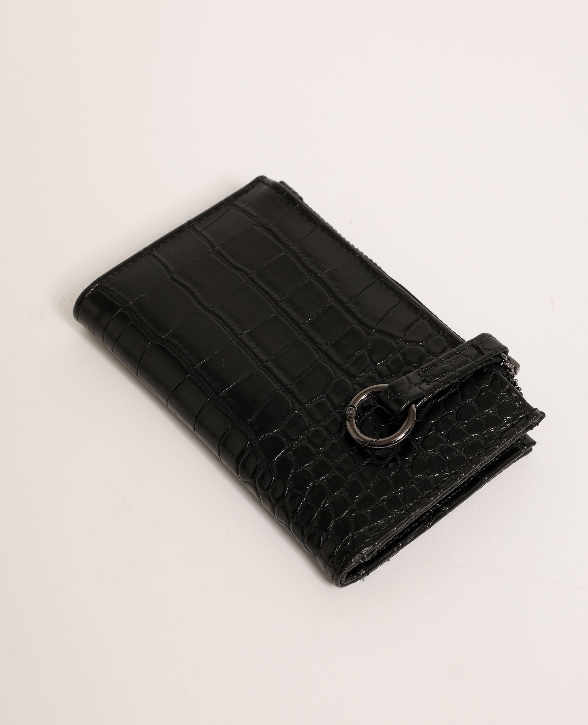 Mini portefeuille effet croco noir - Pimkie