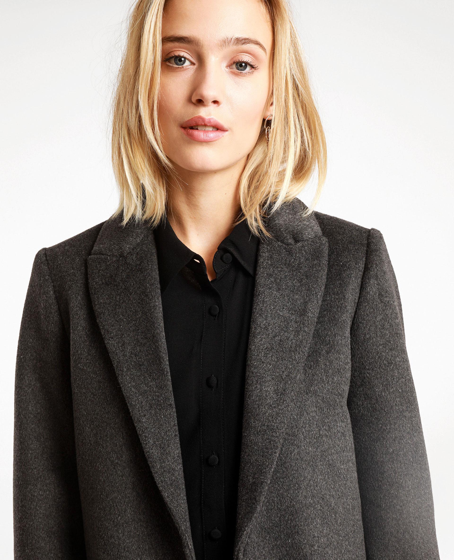 Manteau drap de laine droit gris anthracite 280237824A08