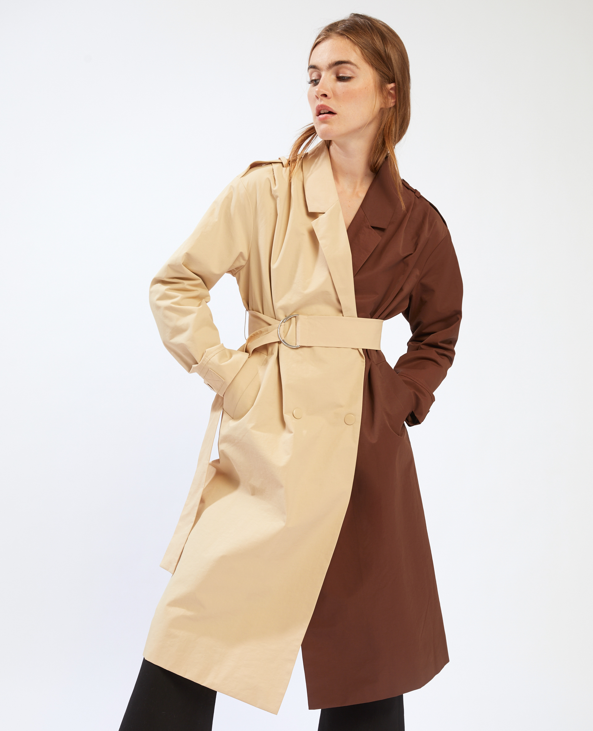 Trench long bicolore beige - Pimkie
