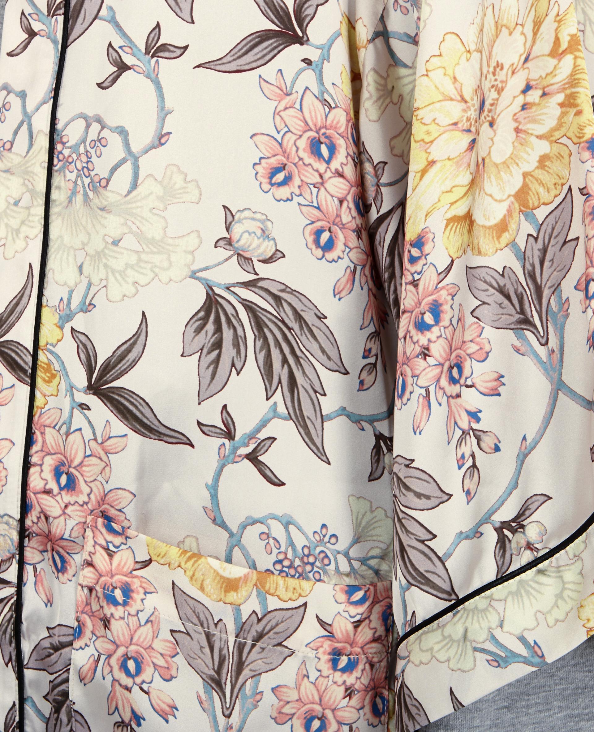 Long kimono satiné fleuri blanc - Pimkie