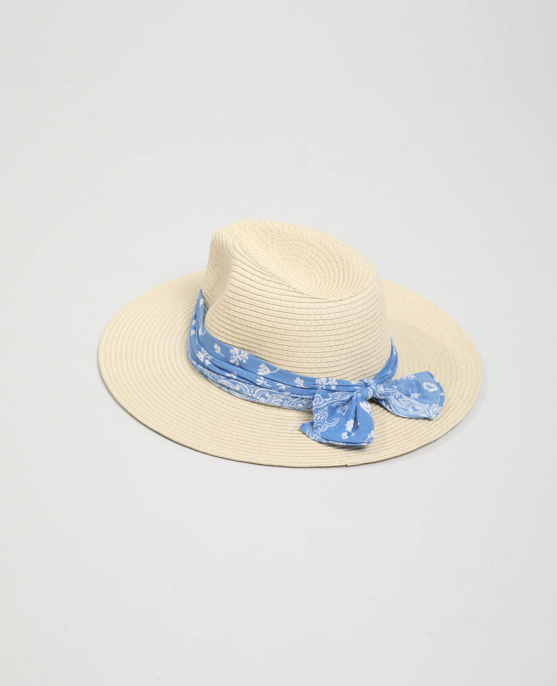 Chapeau de paille avec bandana beige - Pimkie
