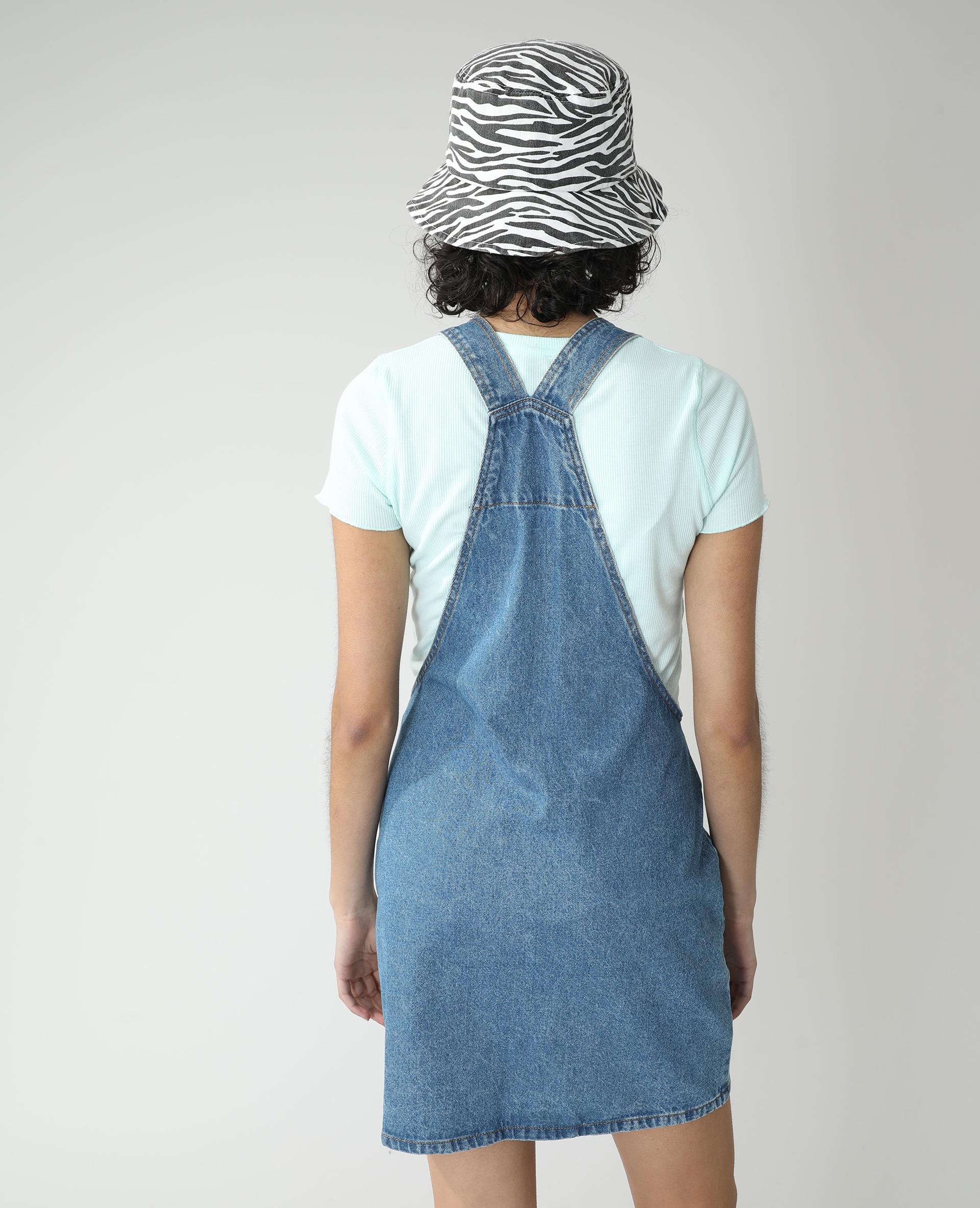 Robe salopette en jean bleu denim - Pimkie