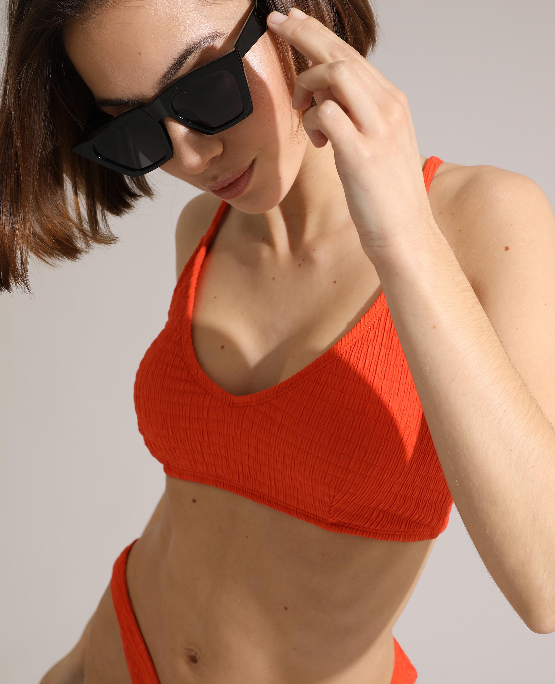 Haut de maillot de bain brassière froncé orange - Pimkie