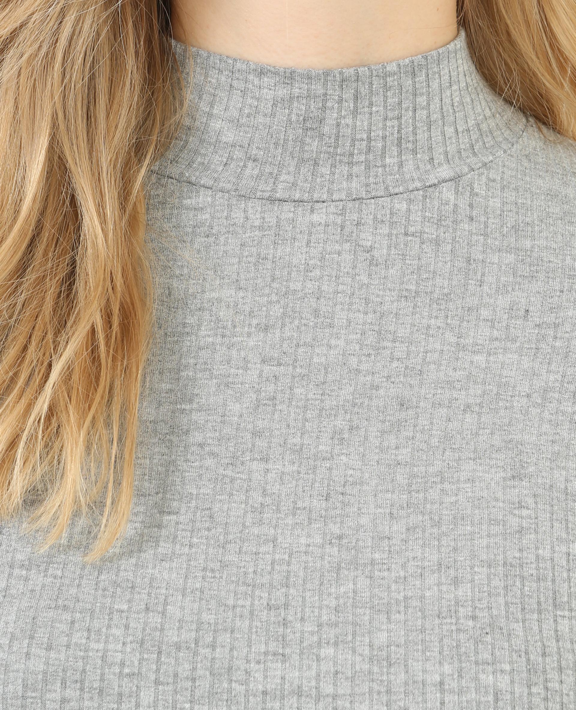 edf9237aca220 T-shirt côtelé col montant gris chiné - 473050830A08   Pimkie
