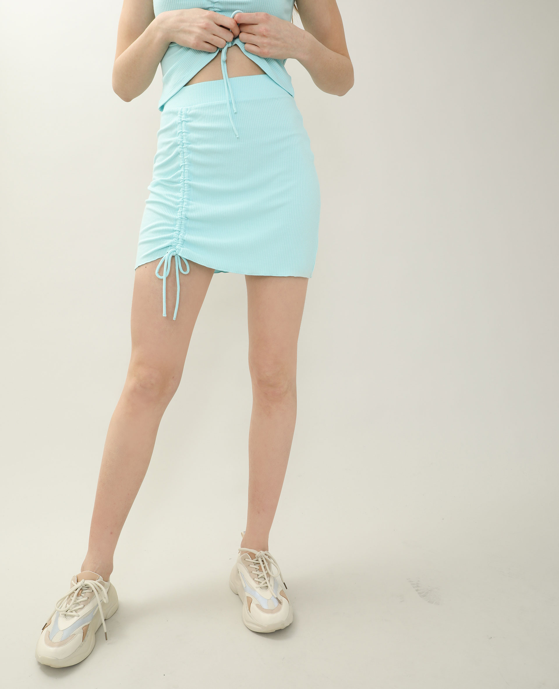 Jupe courte côtelée turquoise - Pimkie