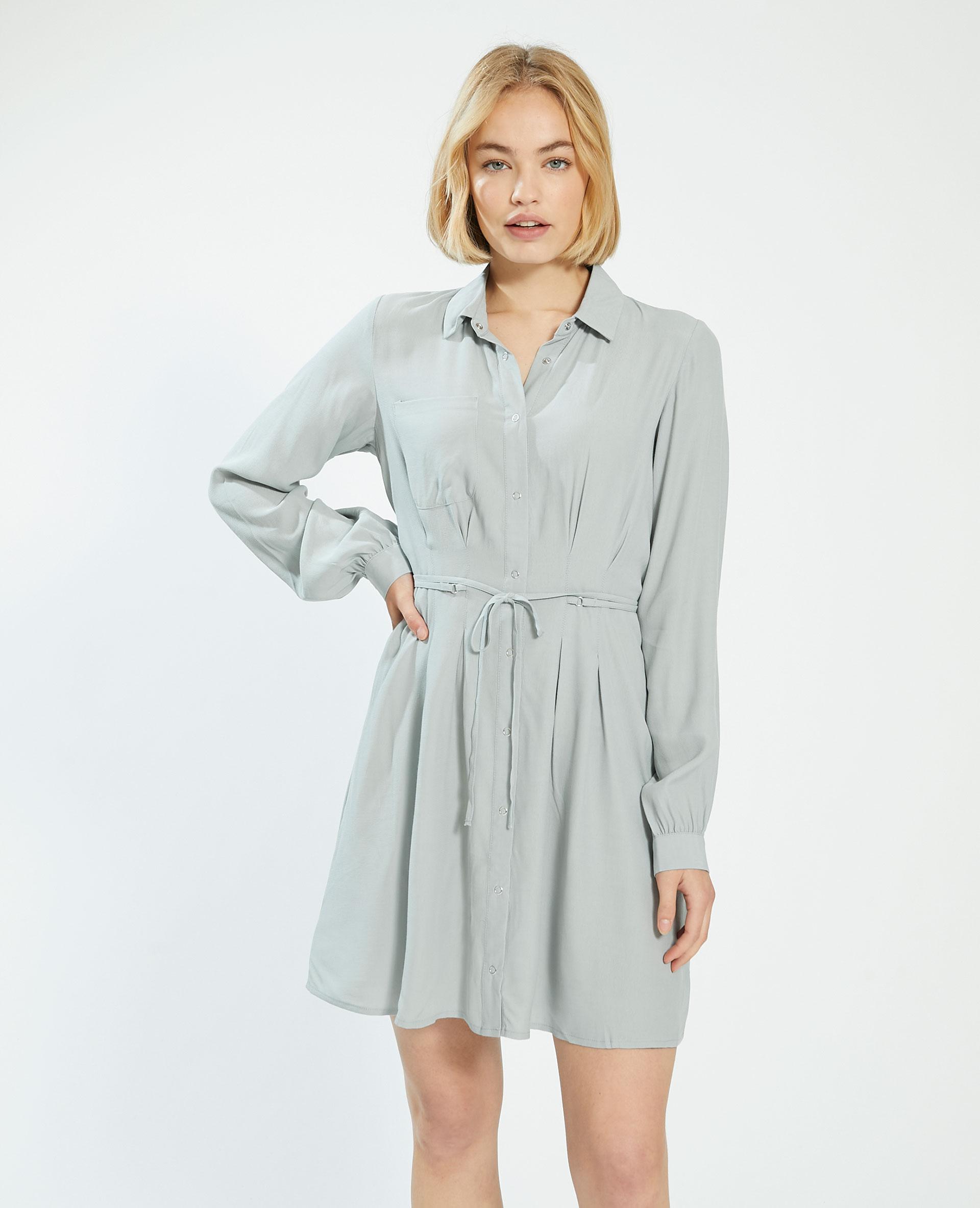 Robe chemise à nouer vert - Pimkie