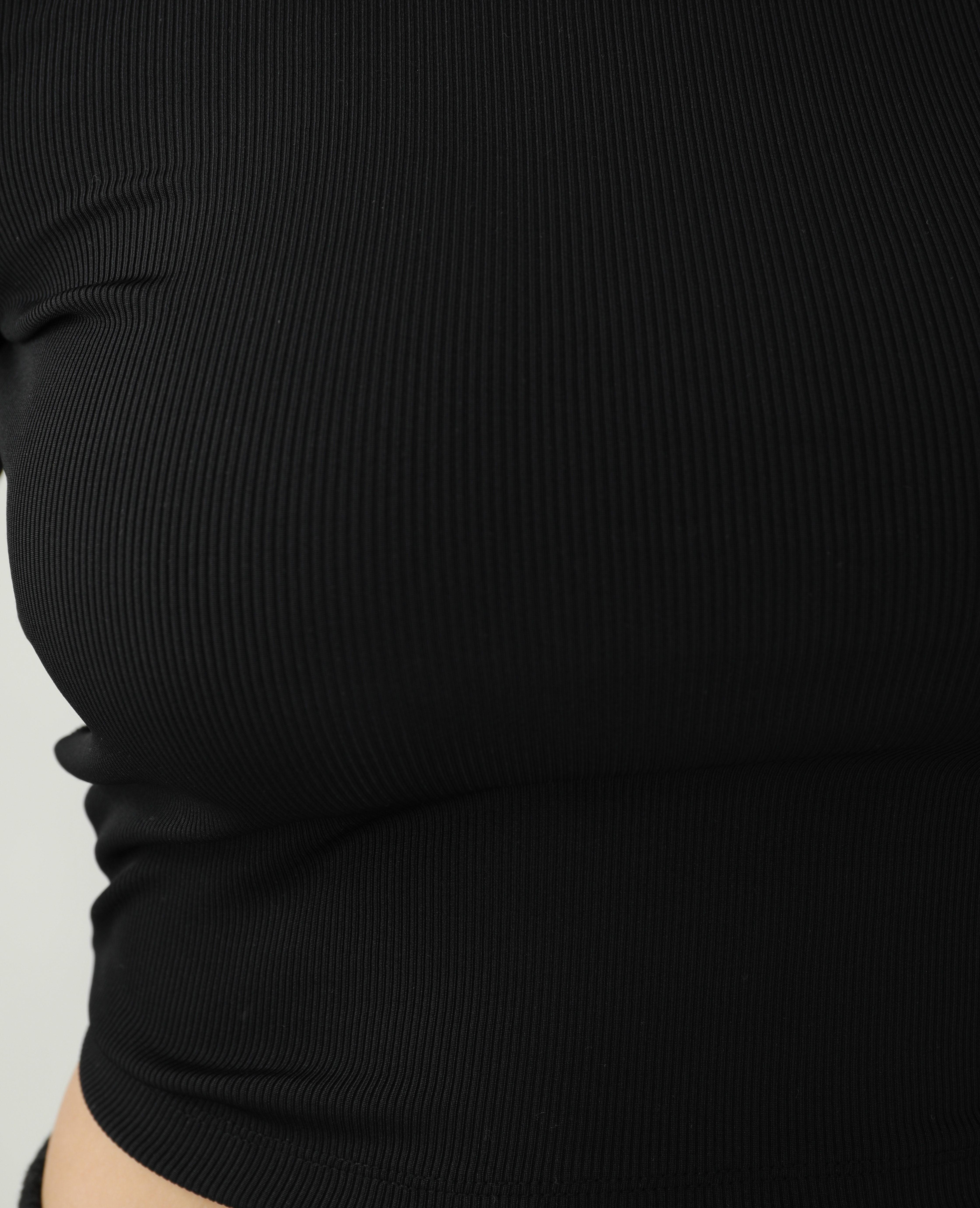 T-shirt côtelé dos nu noir - Pimkie