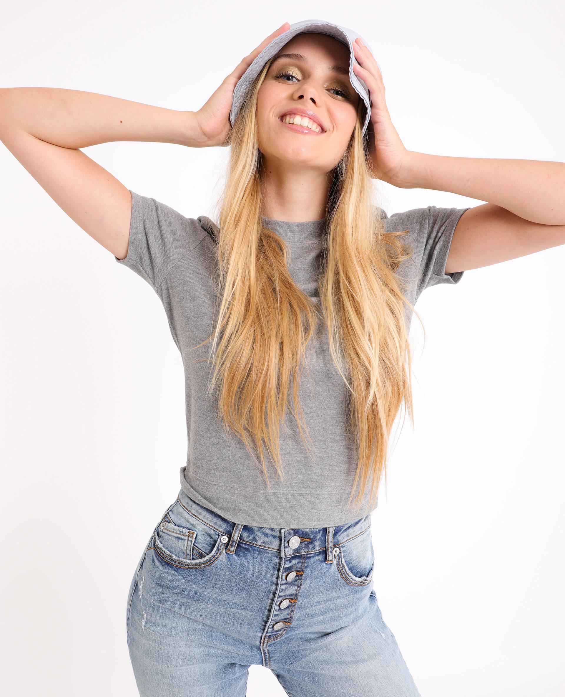 T-shirt doux gris chiné - Pimkie