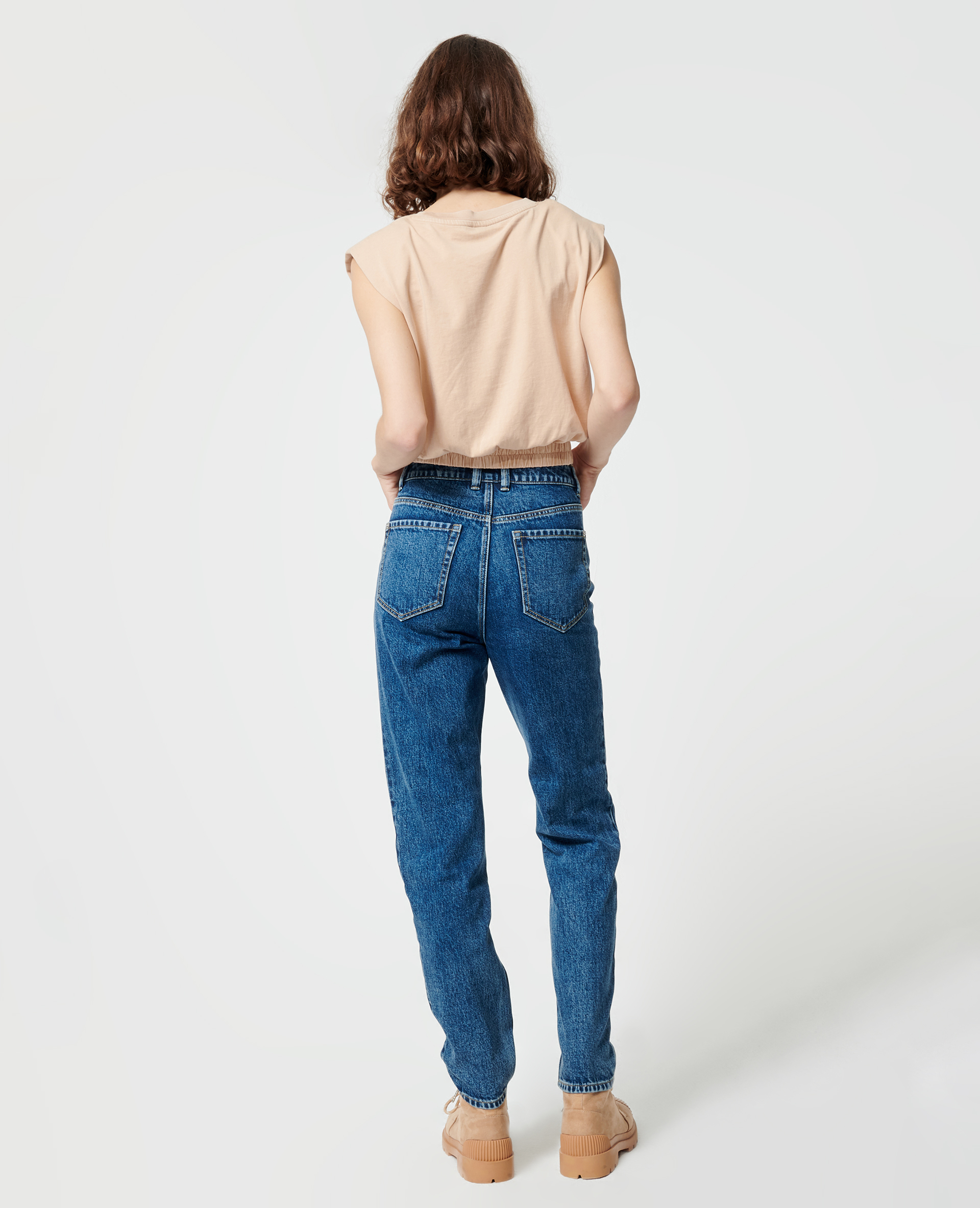 Jean mom taille haute bleu denim - Pimkie