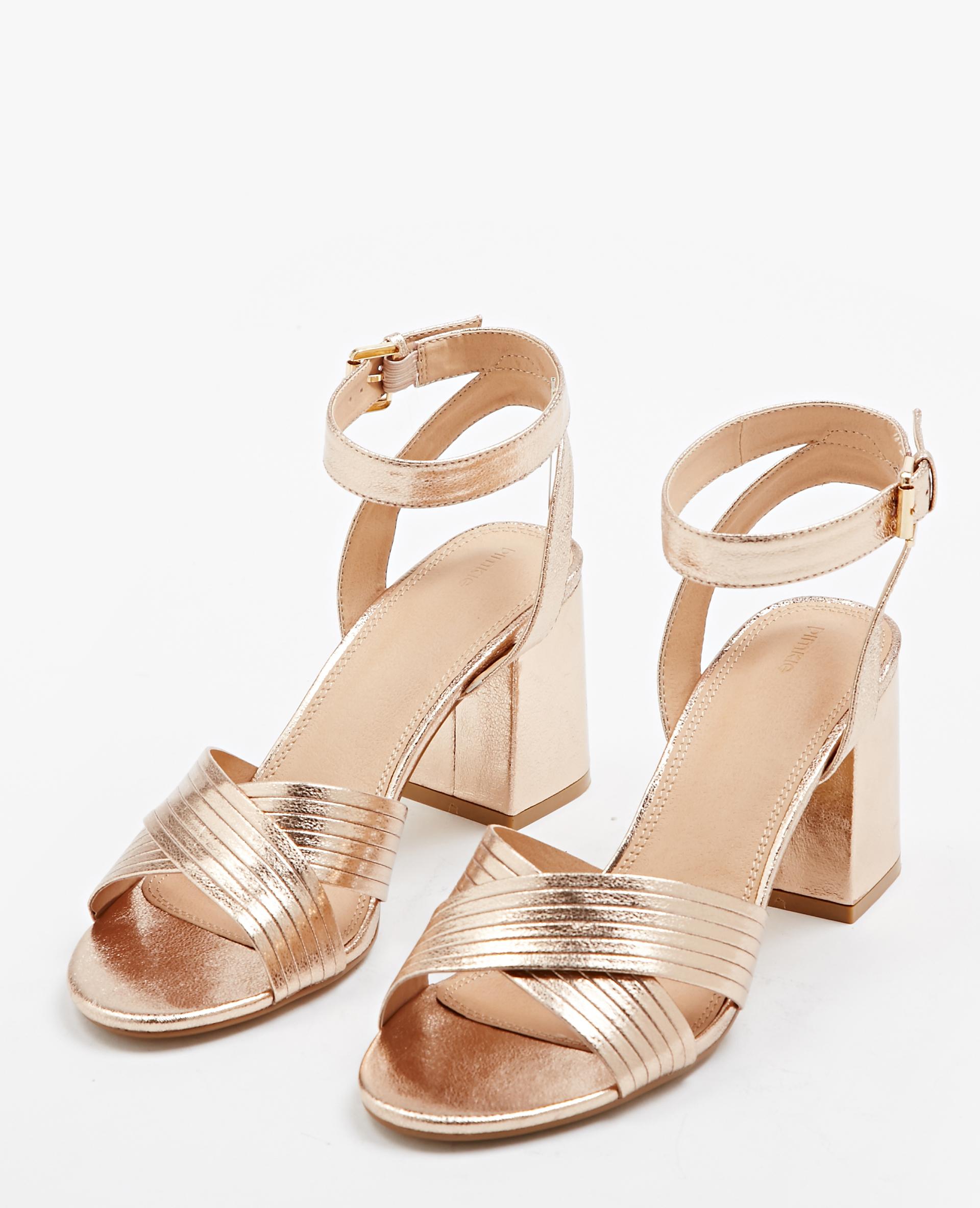 Sandales à talons carrés cuivré - Pimkie