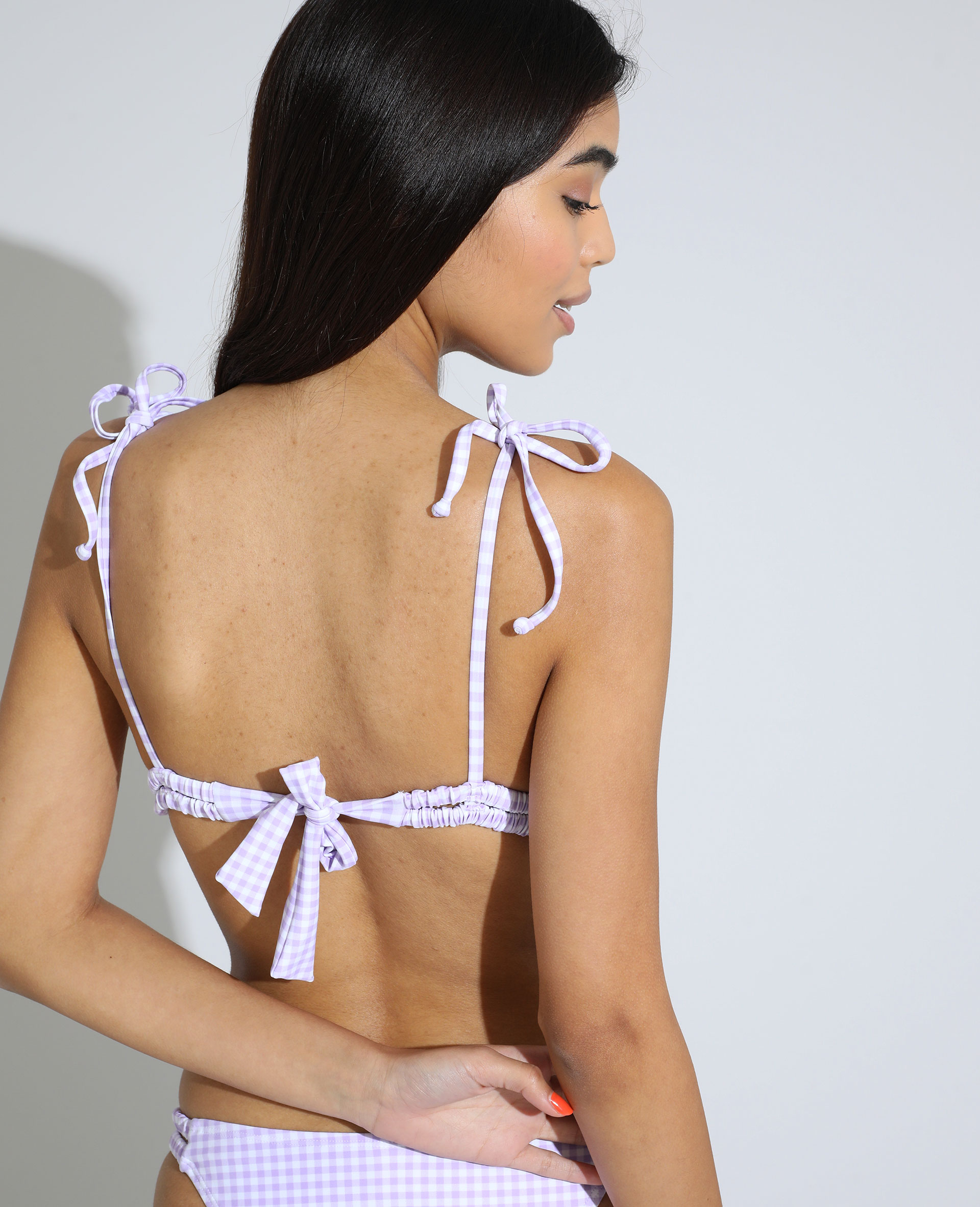 Haut de maillot de bain triangle à carreaux violet - Pimkie