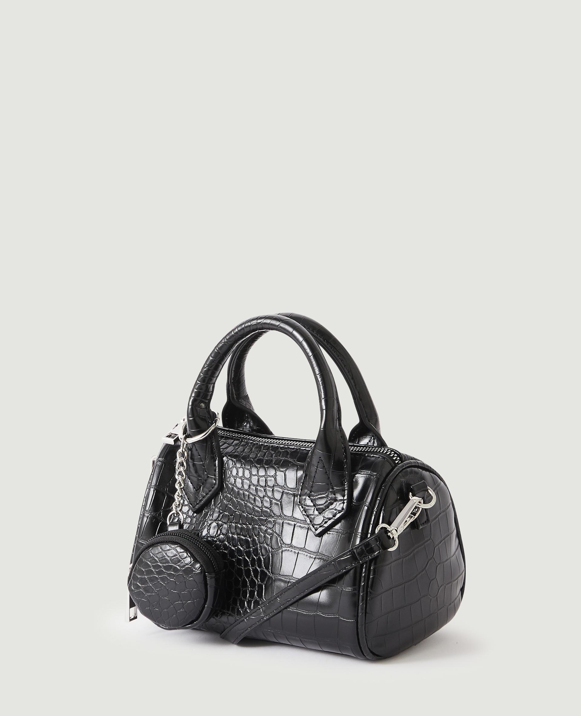 Mini sac à main croco avec pochette noir - Pimkie
