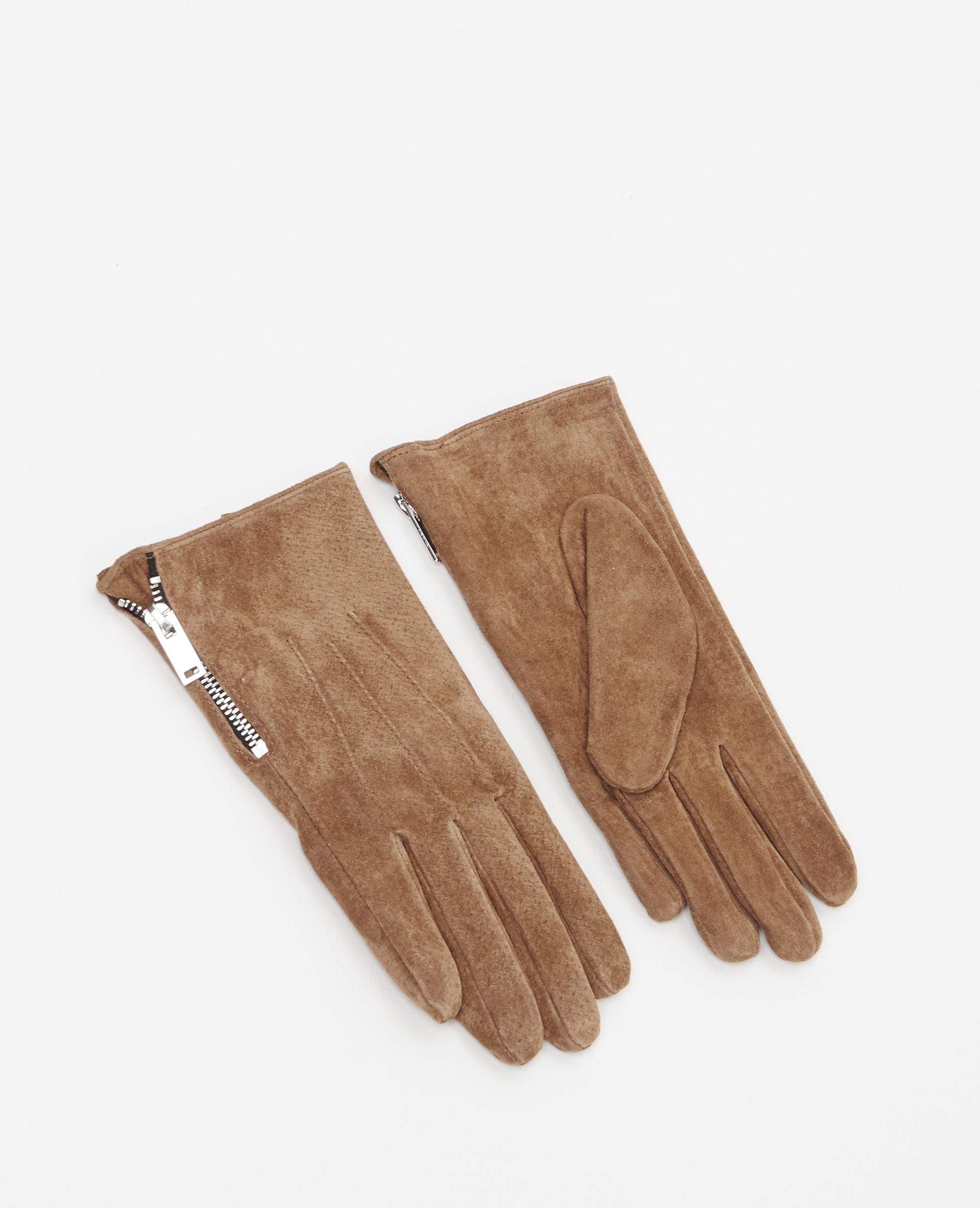 Gants croûte de cuir camel - Pimkie