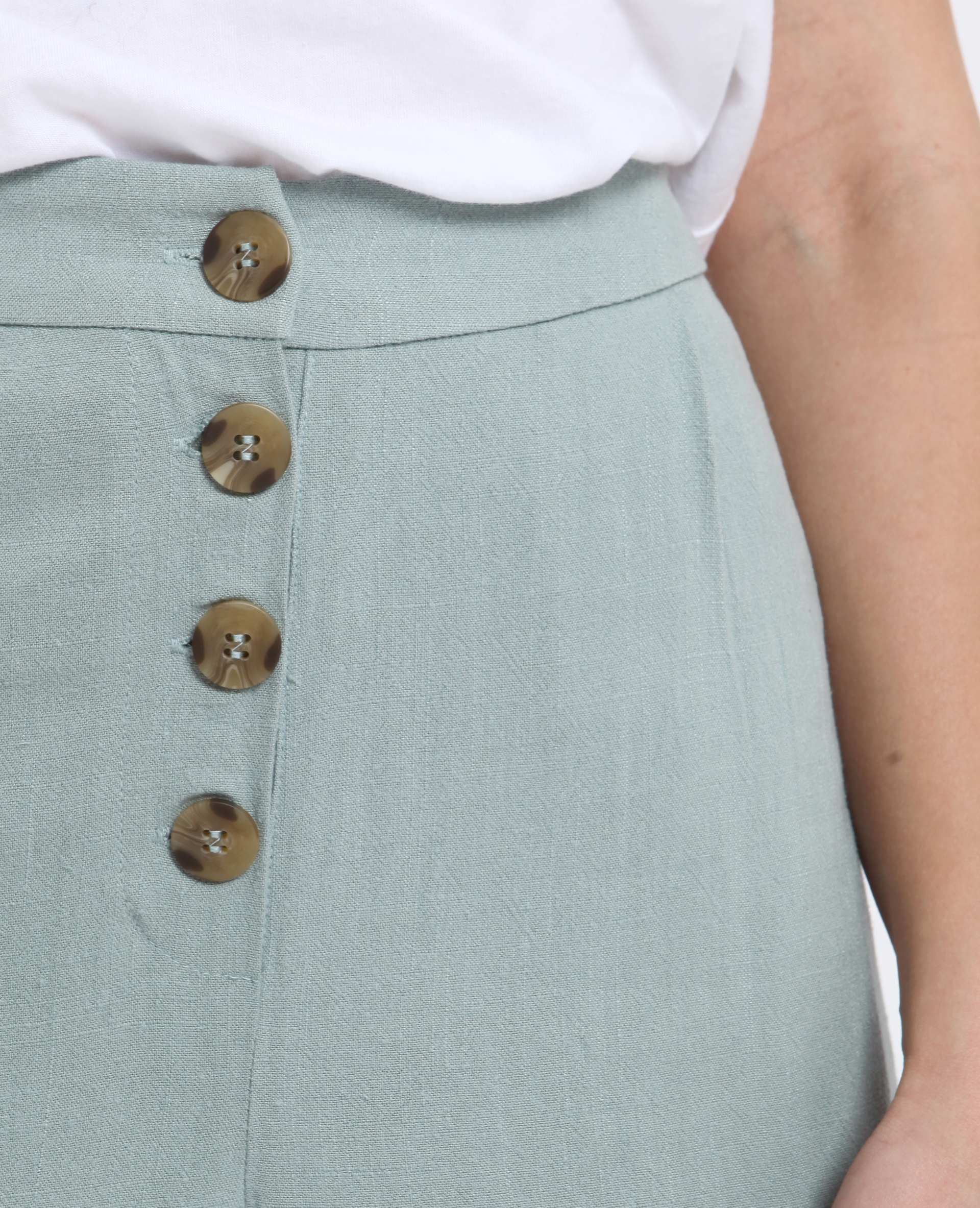 Pantalon 30% lin vert d'eau - Pimkie