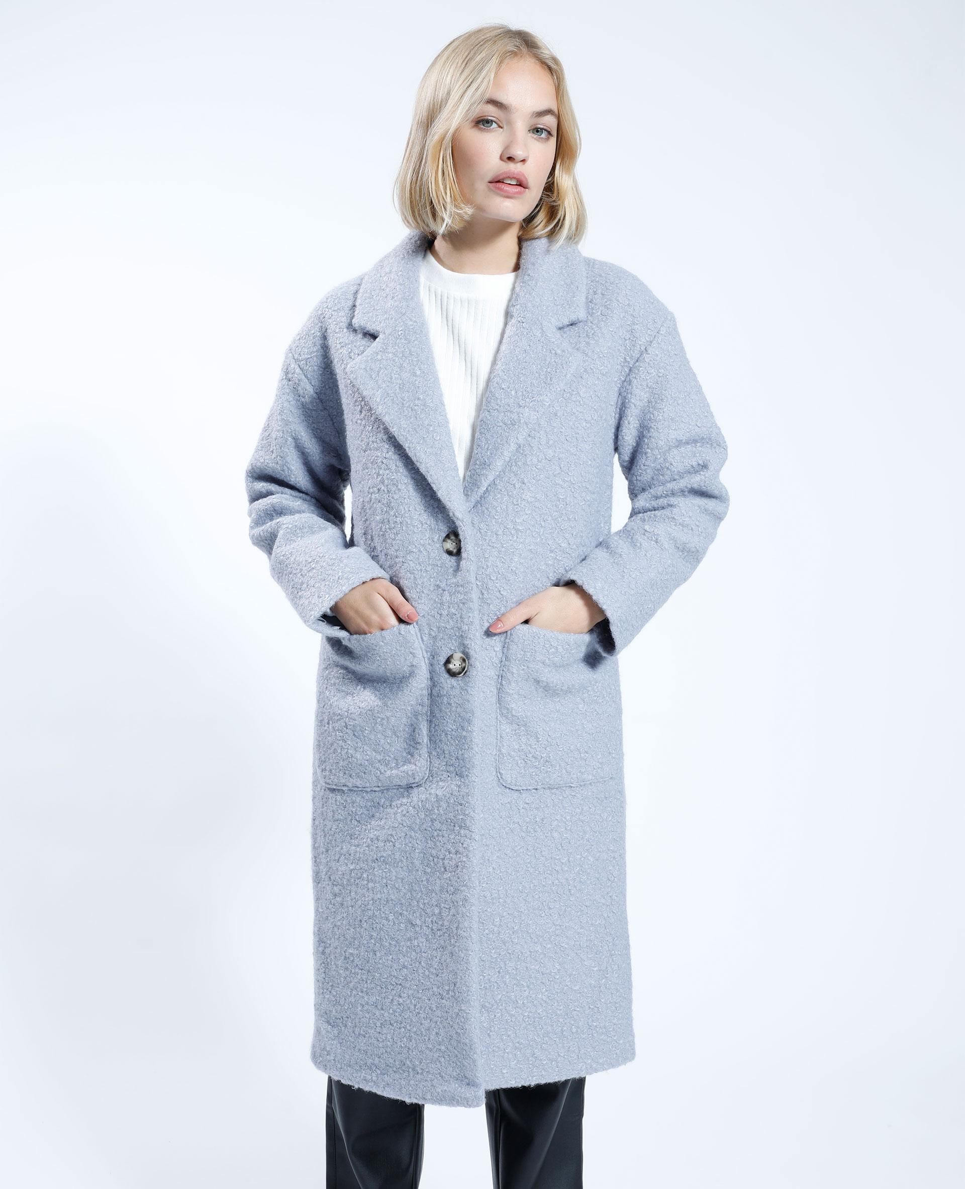 Manteau pardessus effet bouclette gris - Pimkie