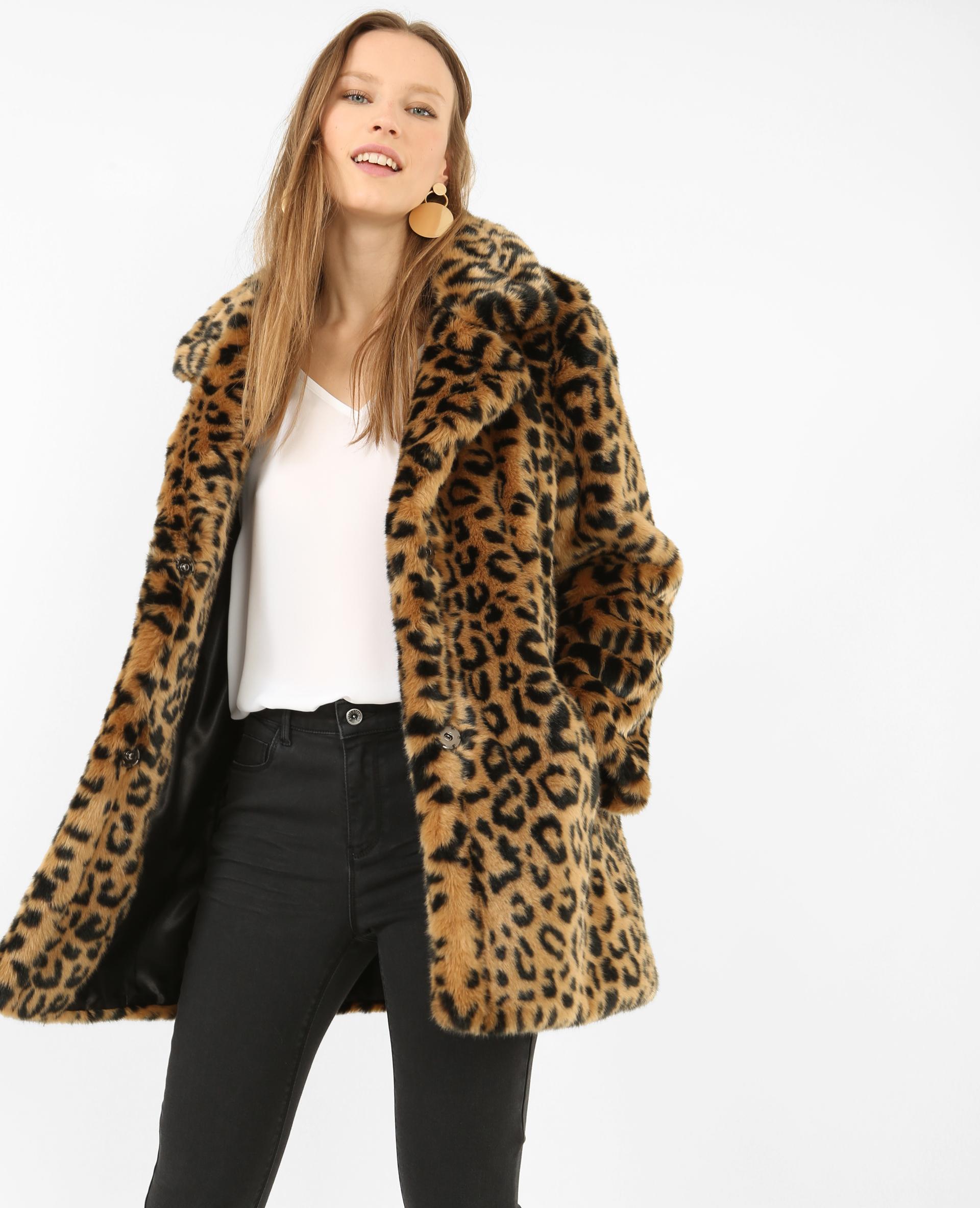 Manteau léopard fausse fourrure