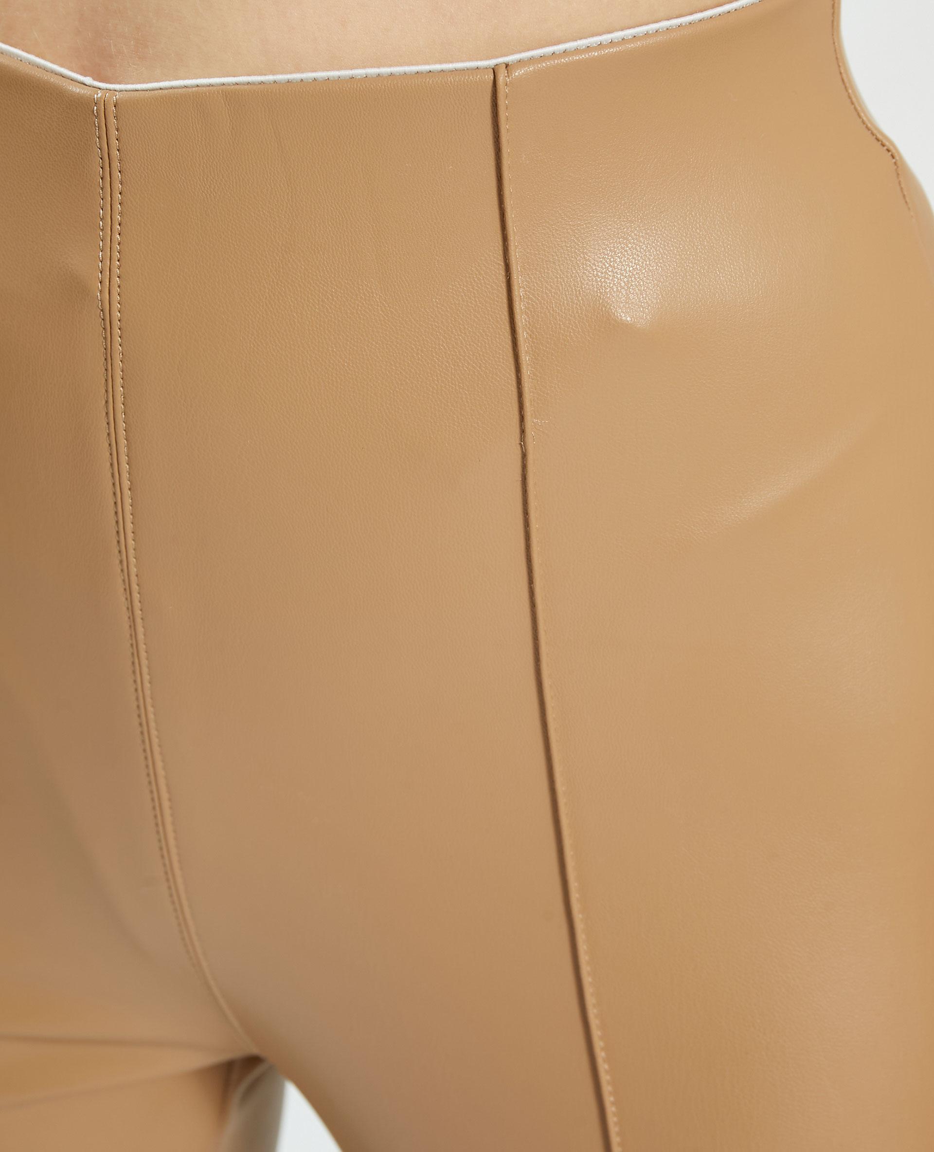 Legging en simili cuir beige - Pimkie