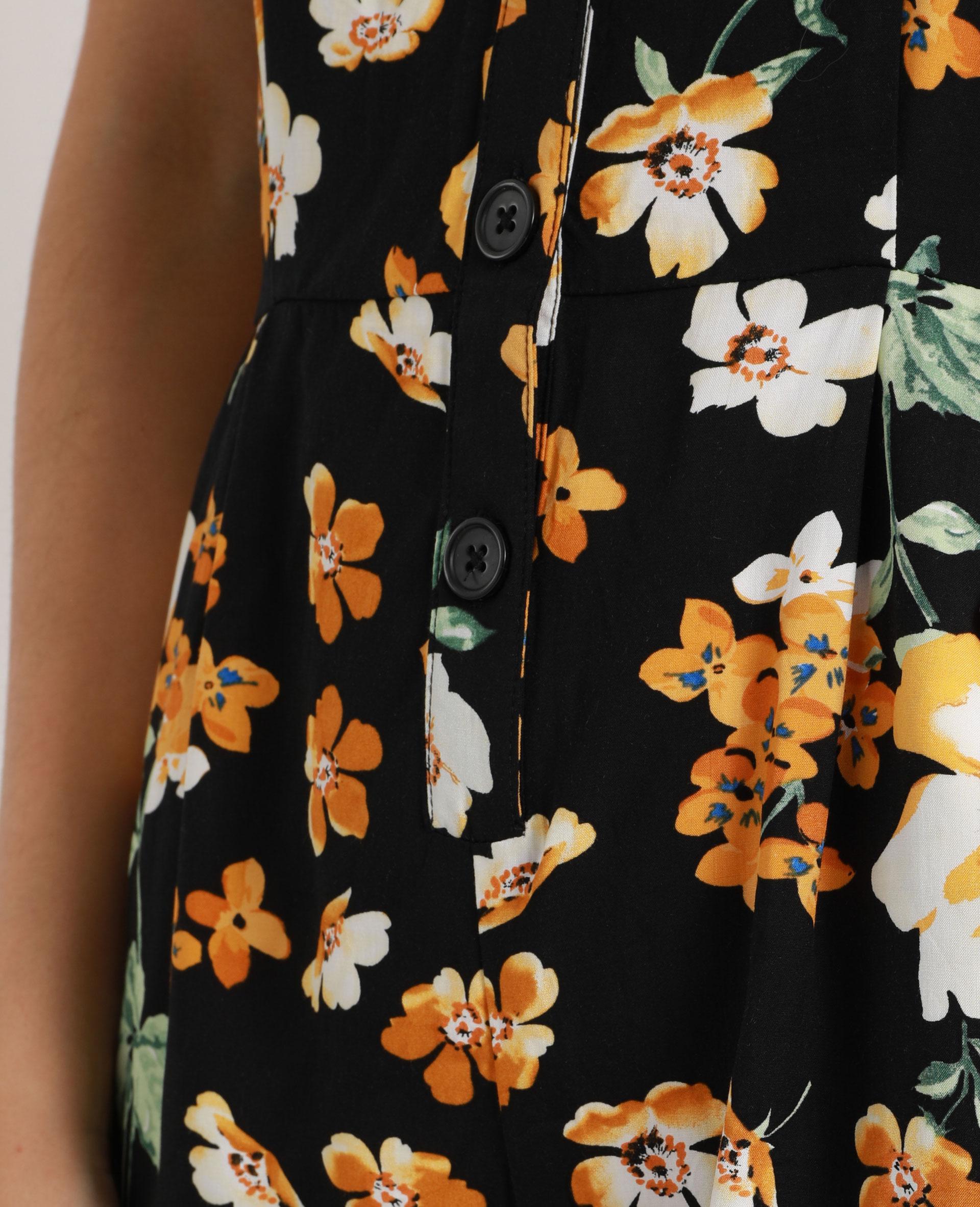 Combishort à fleurs noir - Pimkie