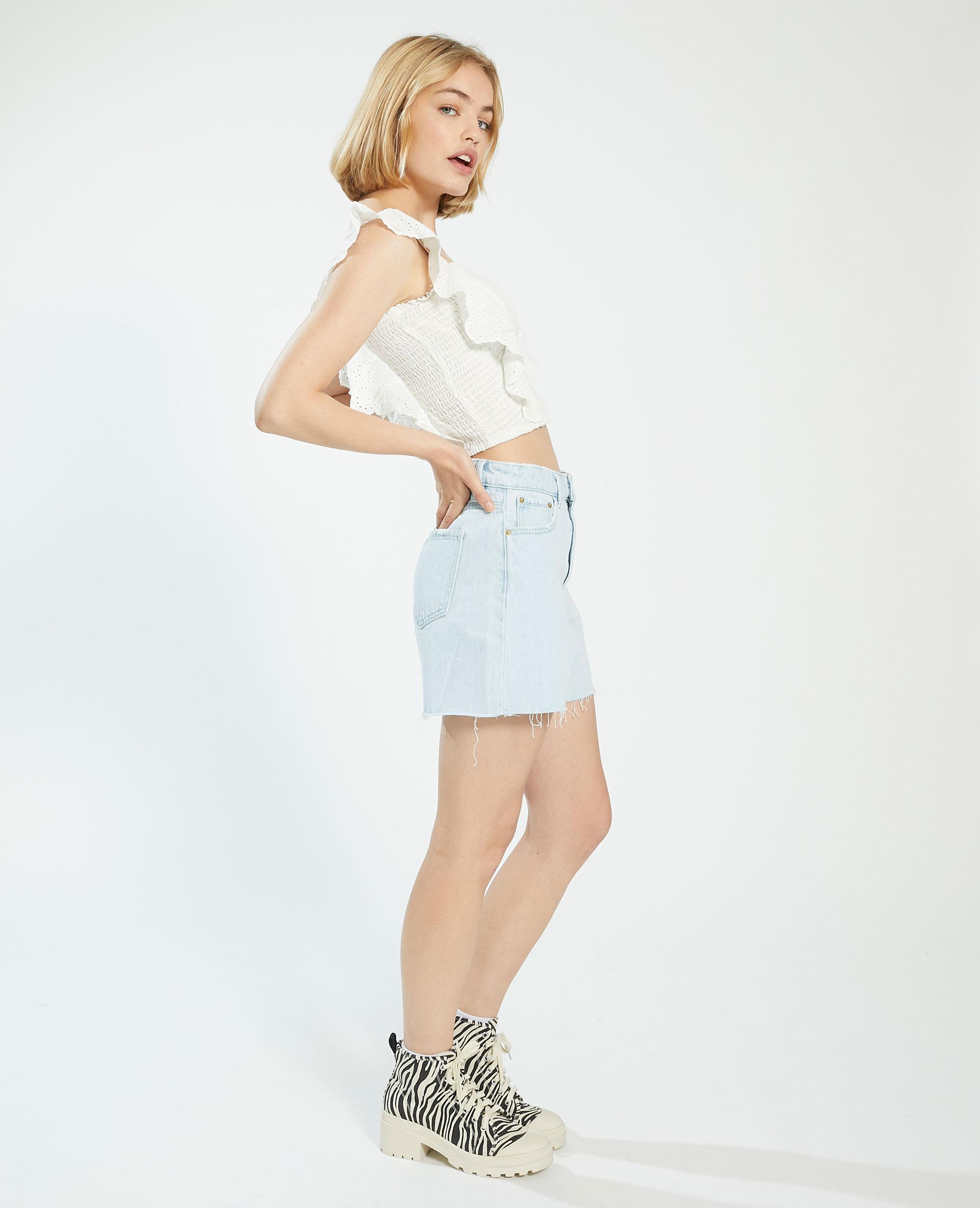 Short destroy high waist bleu clair - Pimkie