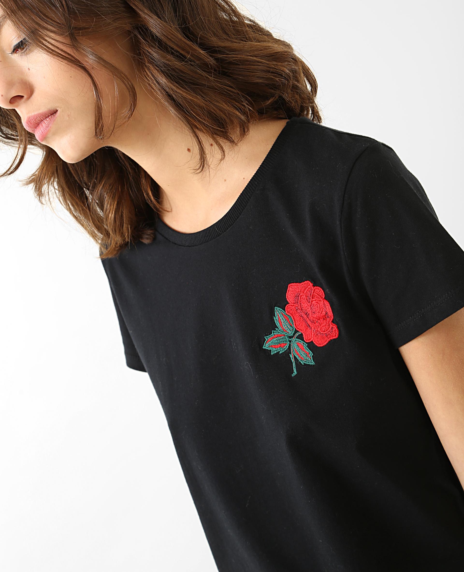 T-shirt broderie rose noir - Pimkie