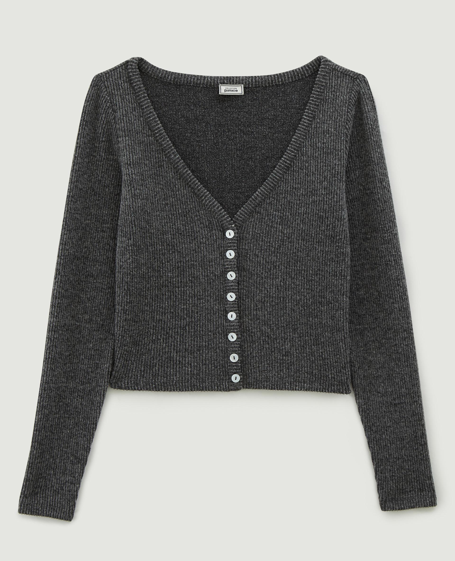 T-shirt côtelé cropped gris clair chiné - Pimkie