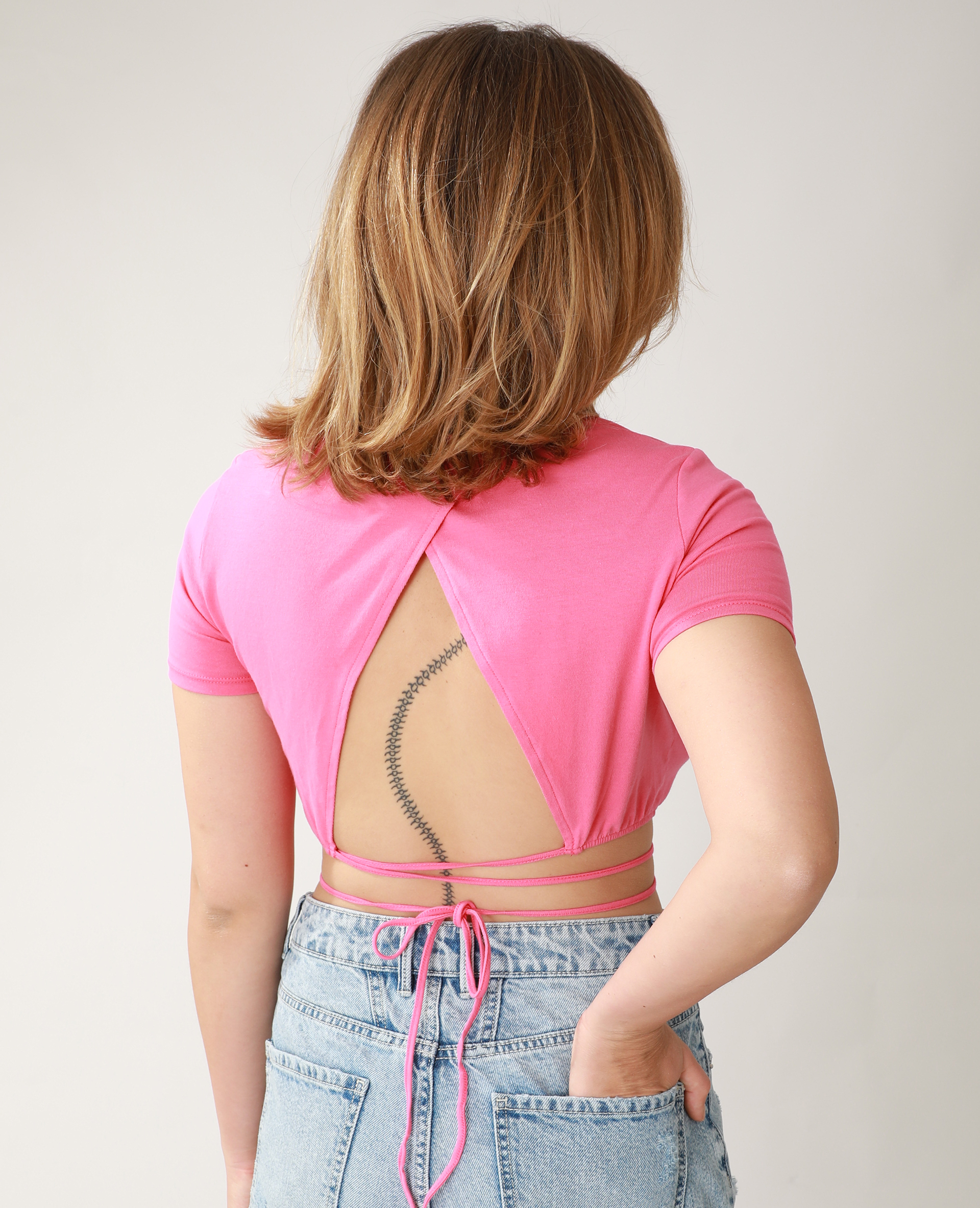 T-shirt cropped à nouer rose - Pimkie