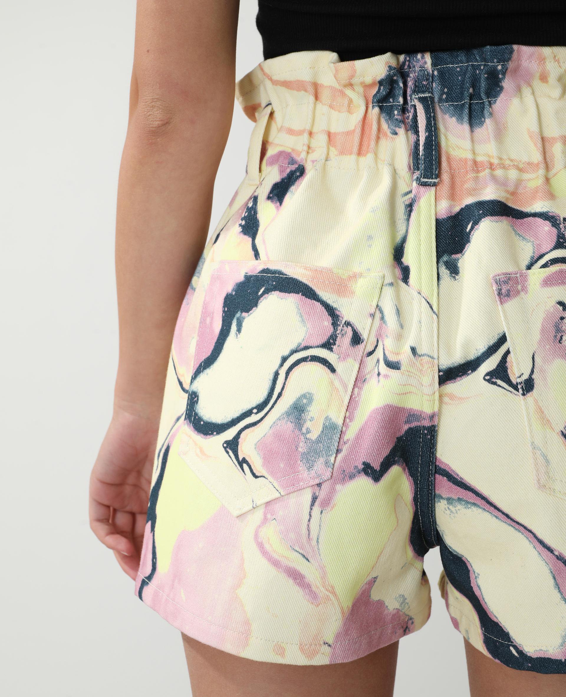 Short en jean high waist fantaisie jaune - Pimkie