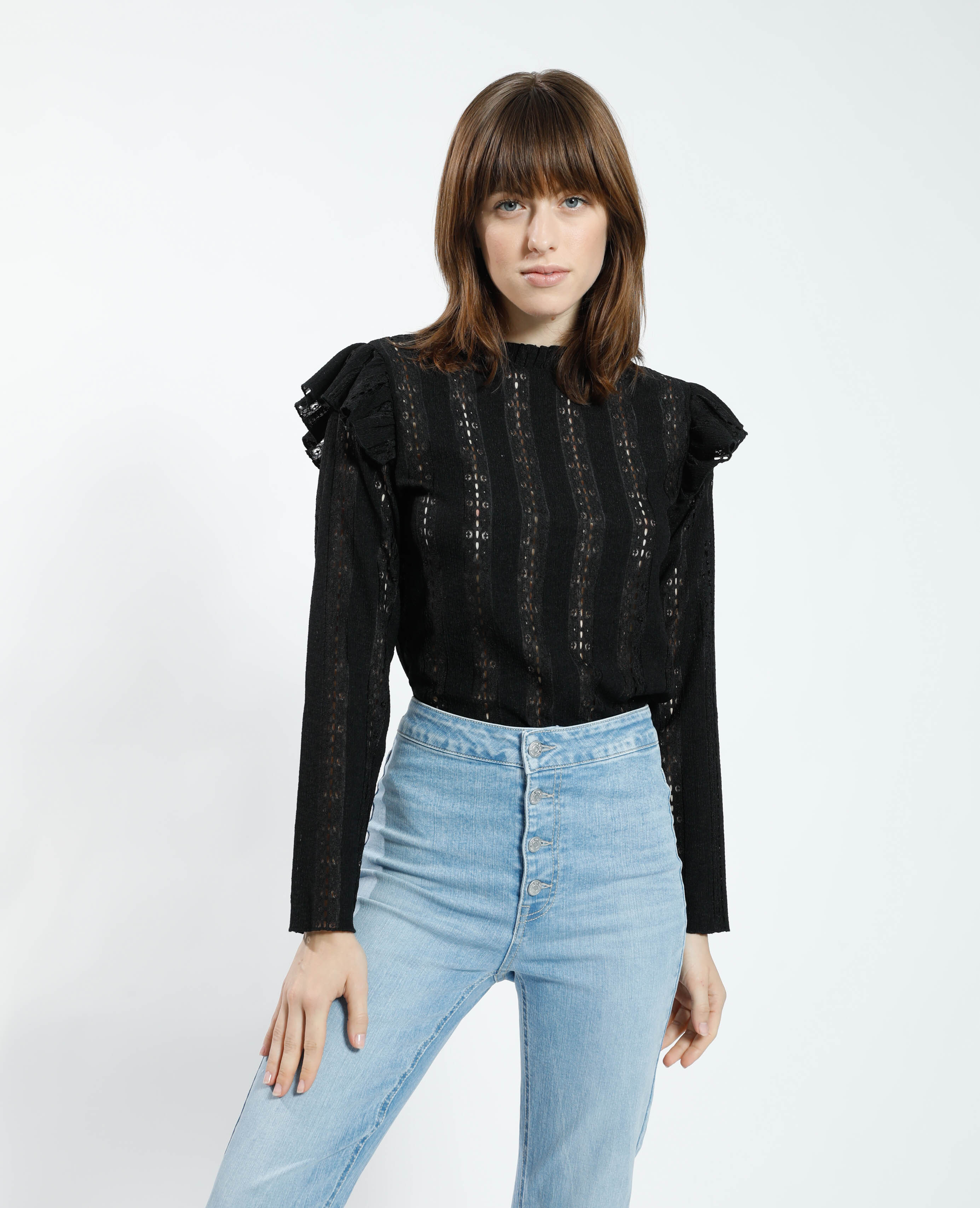 T-shirt volanté en dentelle noir - Pimkie
