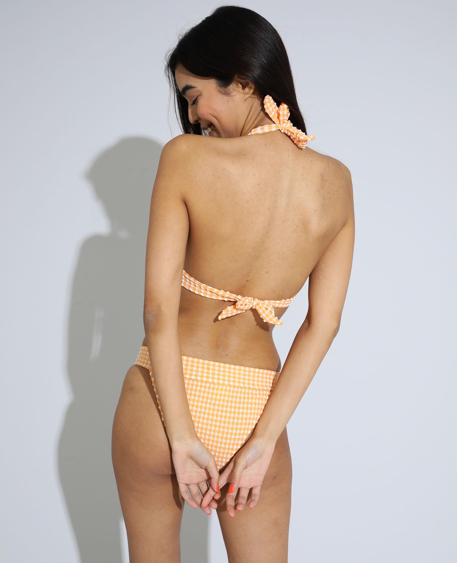 Haut de maillot de bain triangle à carreaux texturé orange - Pimkie