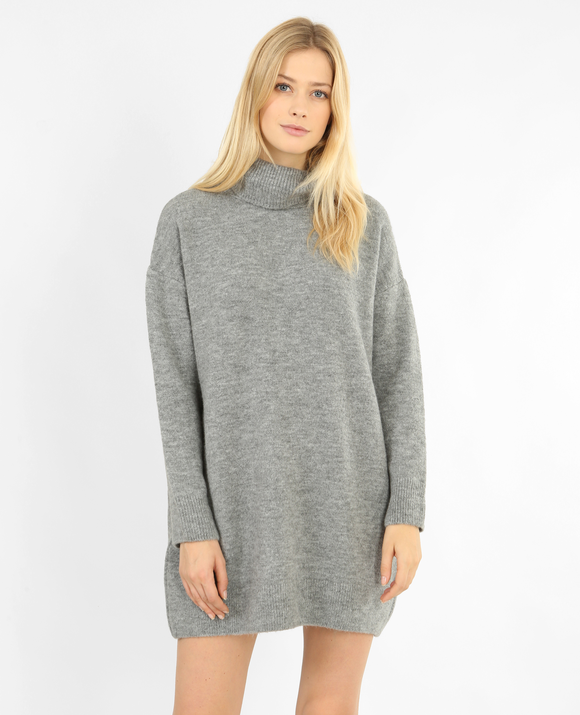 tricot col roulé robe pull gris