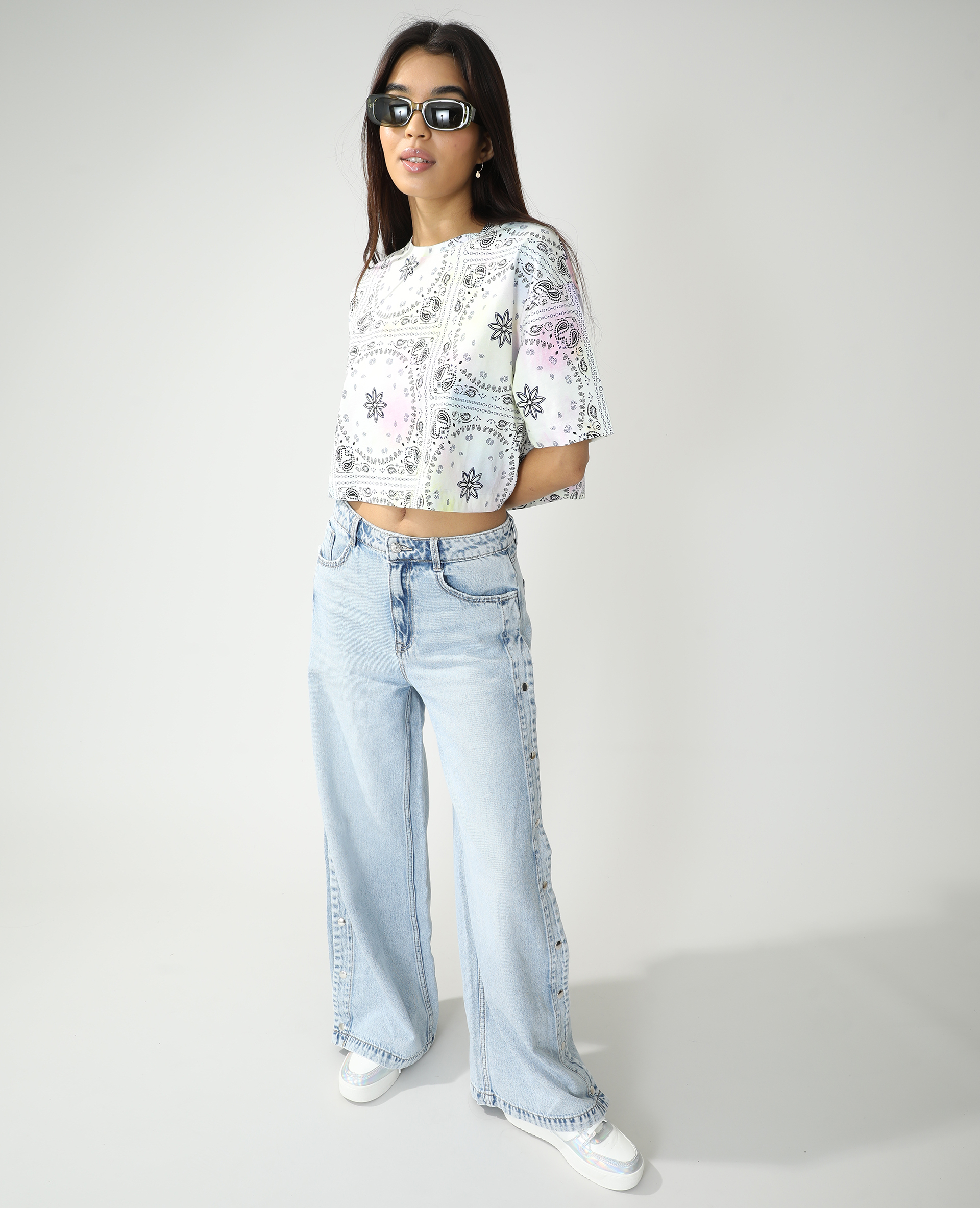 T-shirt cropped oversize fantaisie rose - Pimkie