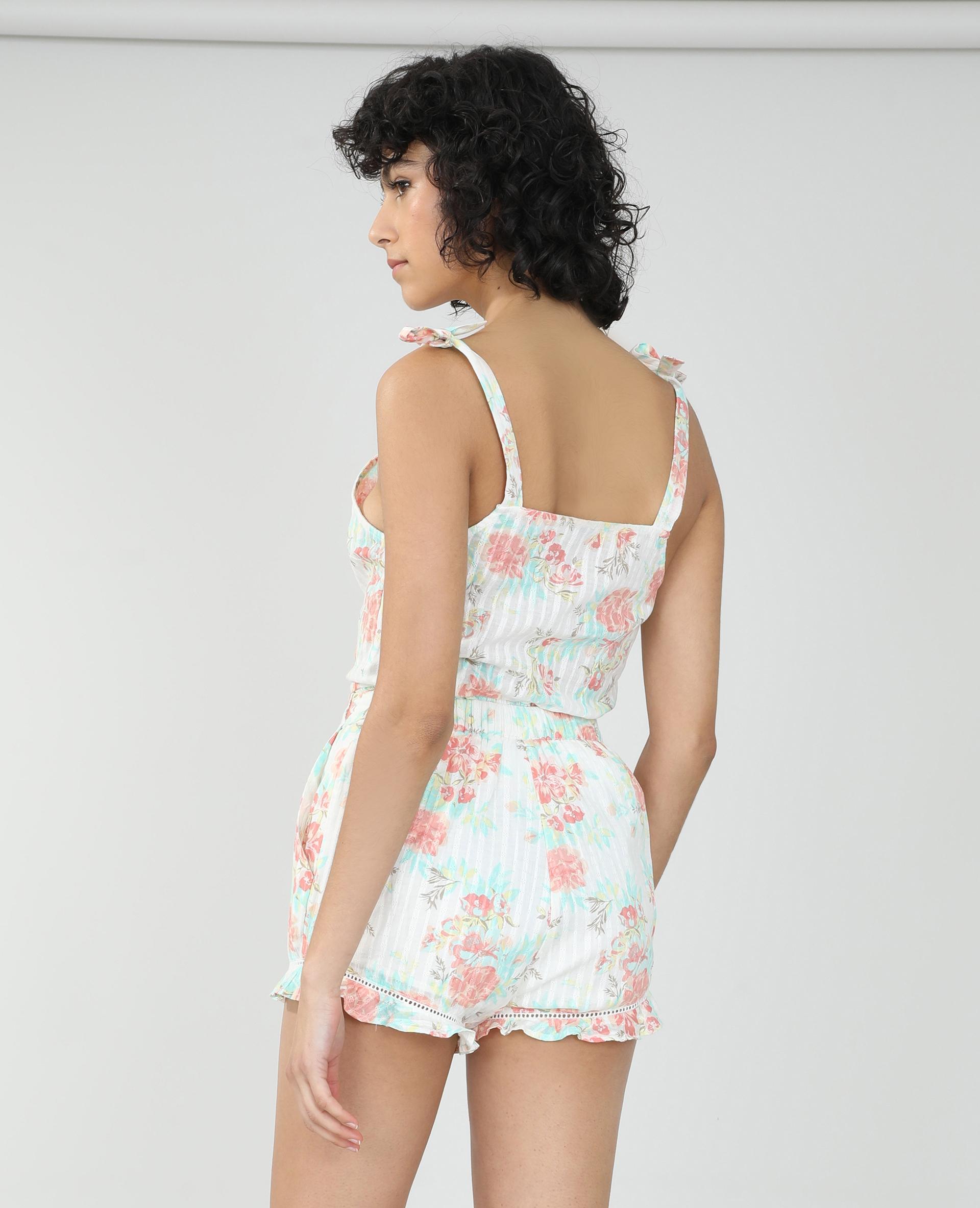 Short fleuri blanc - Pimkie