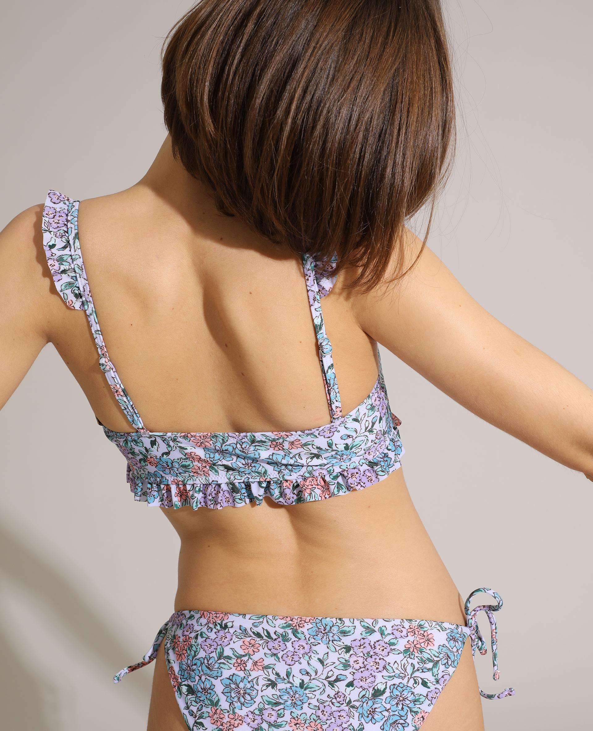 Haut de maillot de bain triangle volanté et à fleurs violet - Pimkie