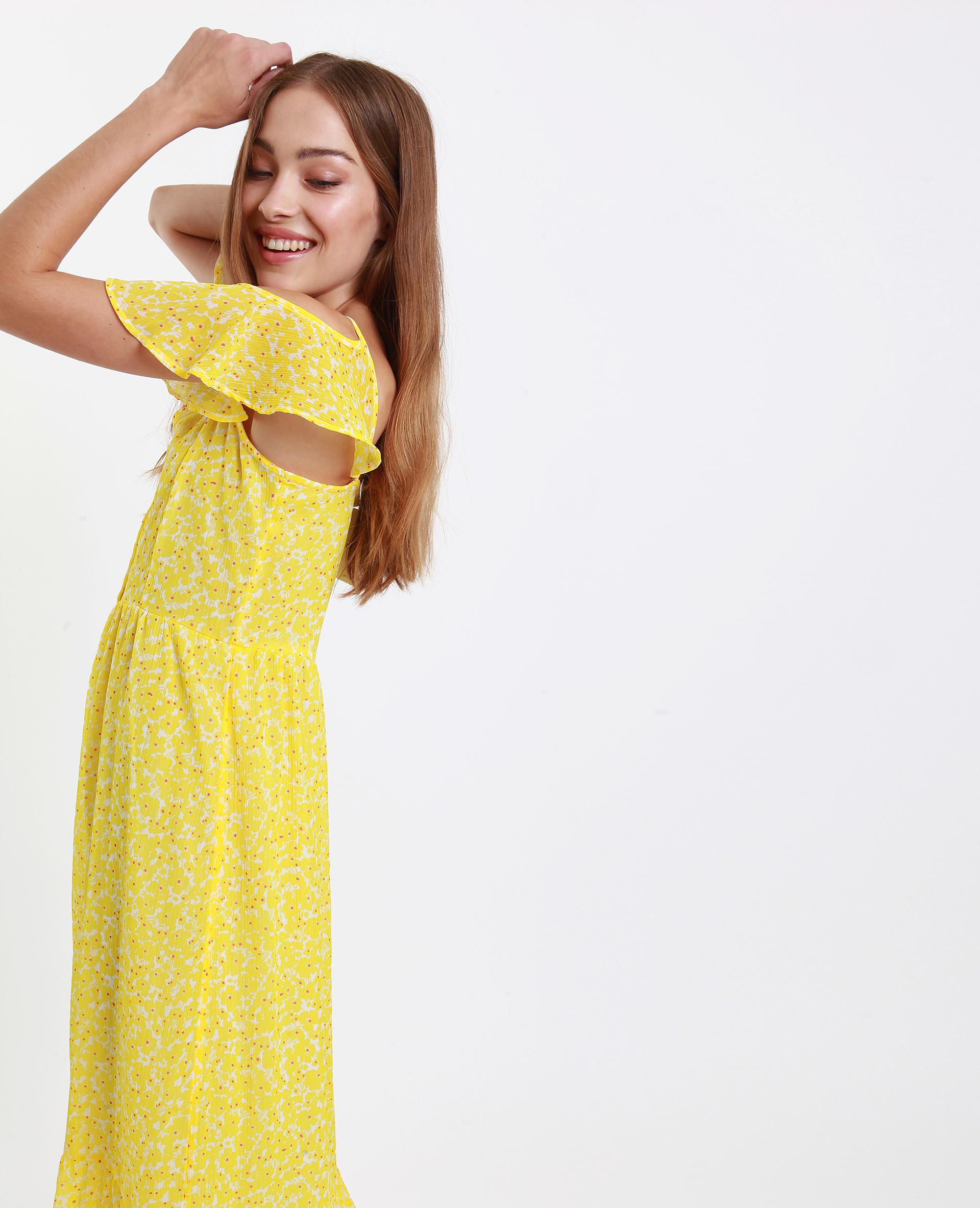 c3d48753b60 Robe longue épaules nues jaune