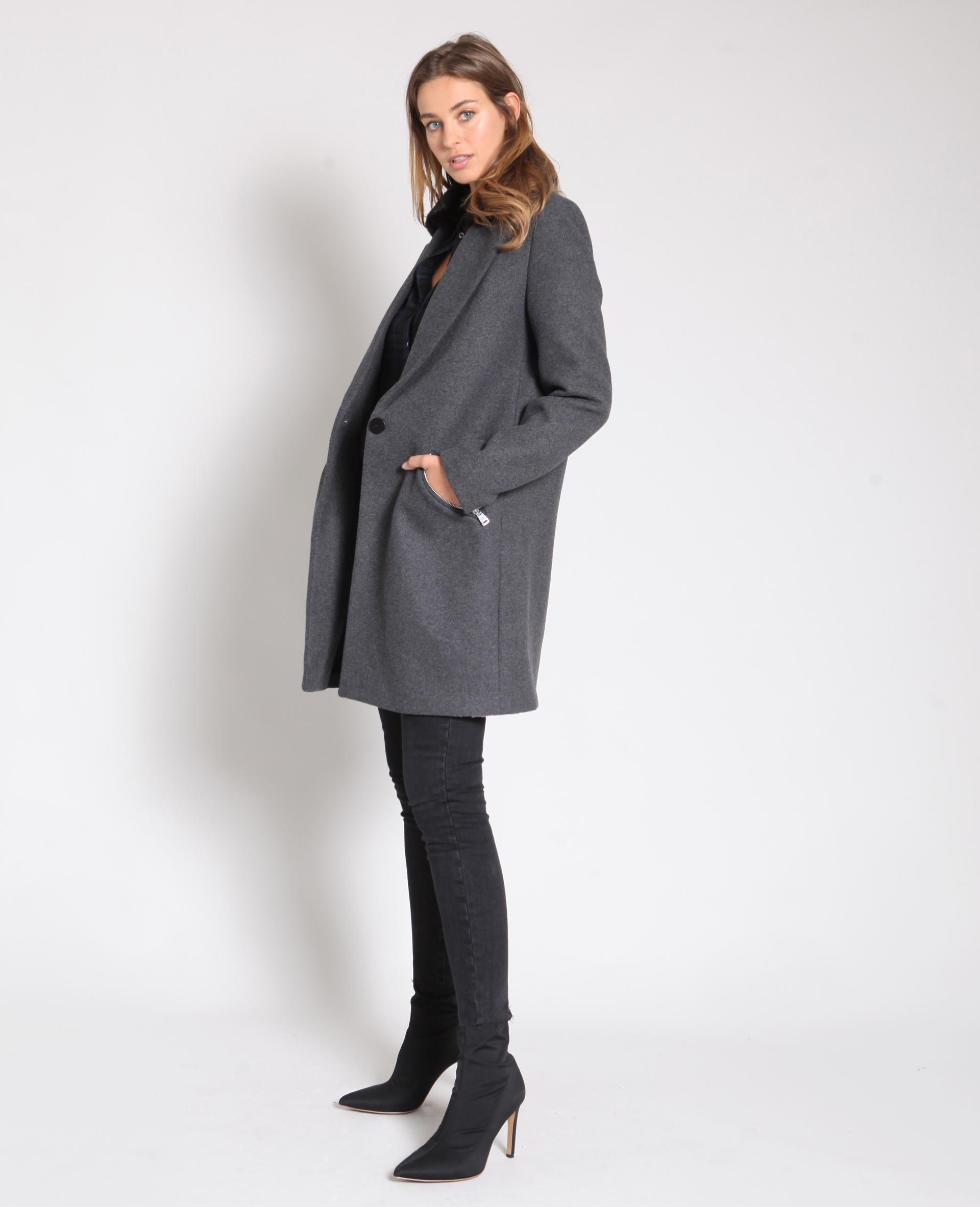 Manteau long gris - Pimkie