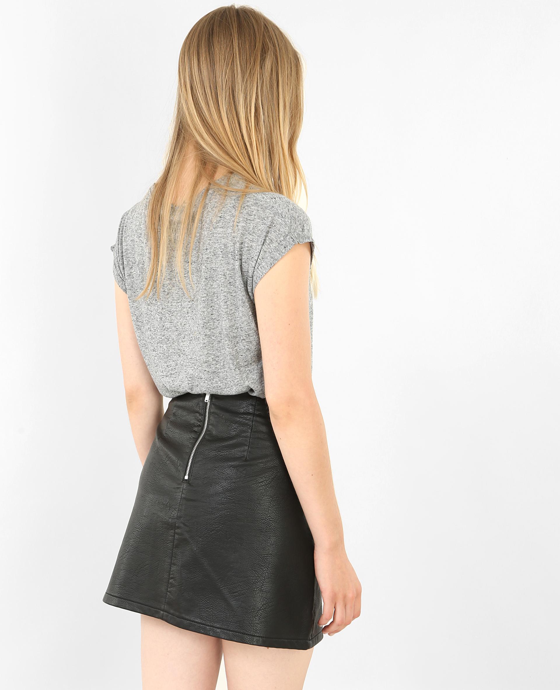 T-shirt à manches courtes gris chiné - Pimkie