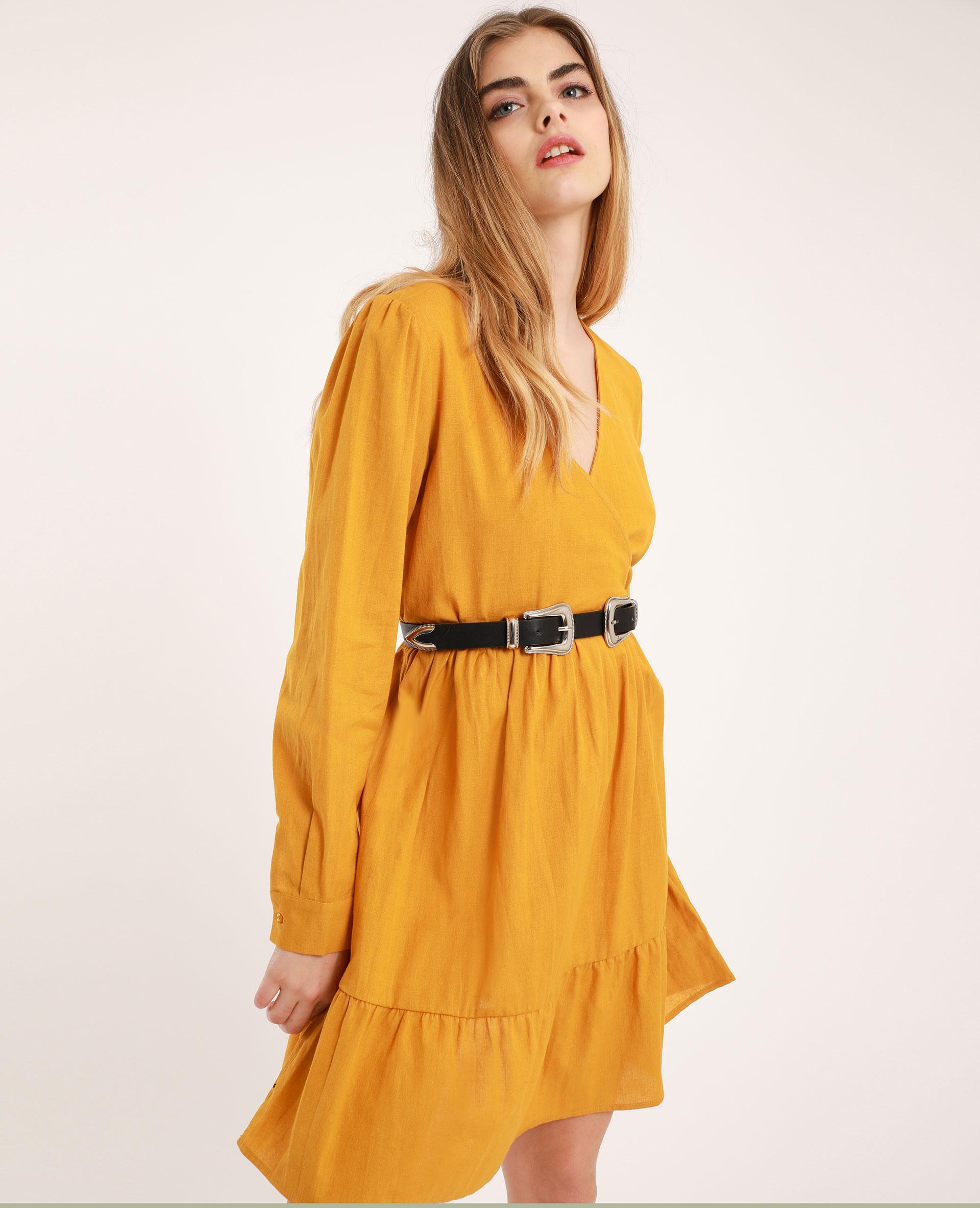 Robe à col V jaune moutarde - Pimkie