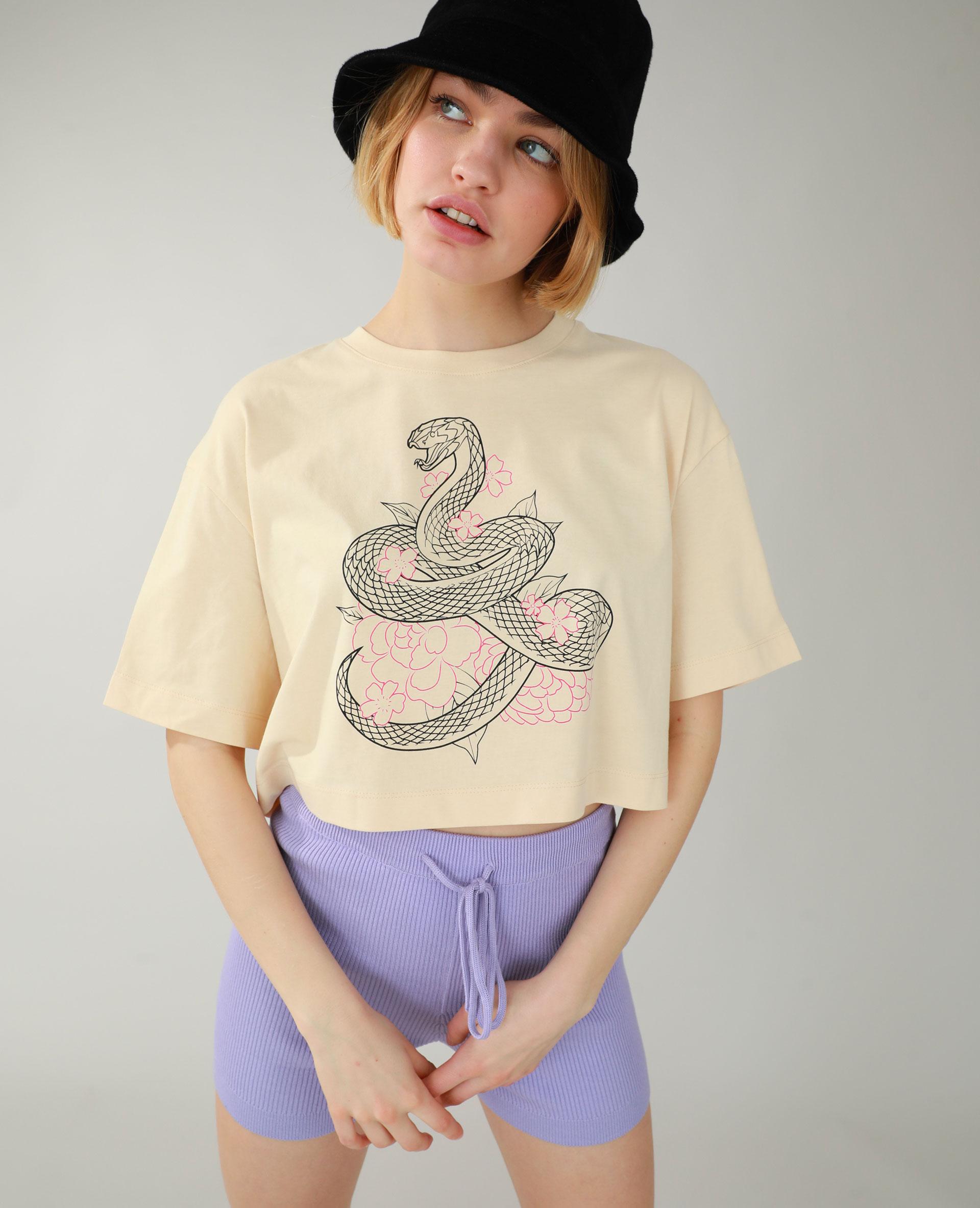 T-shirt cropped beige - Pimkie