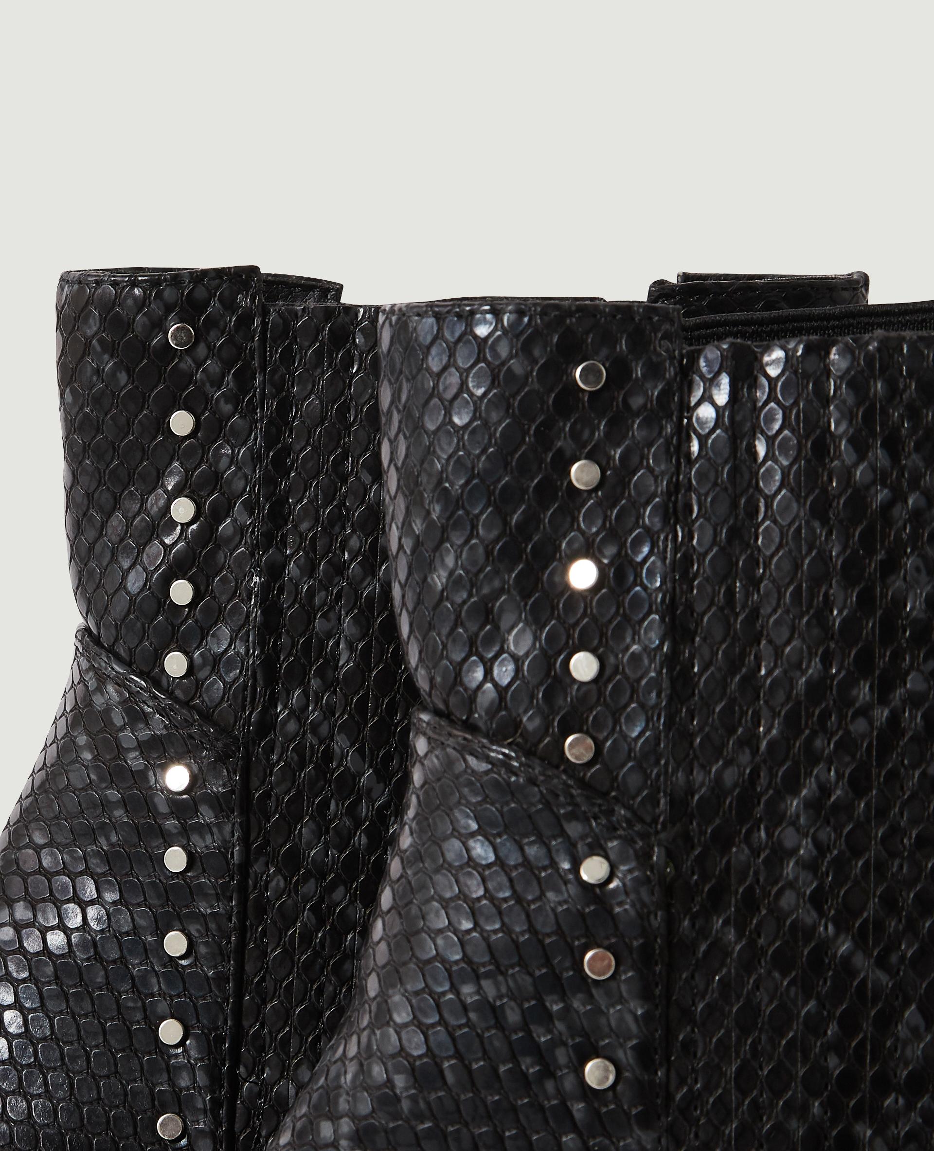 Bottines Chelsea python à clous noir - Pimkie
