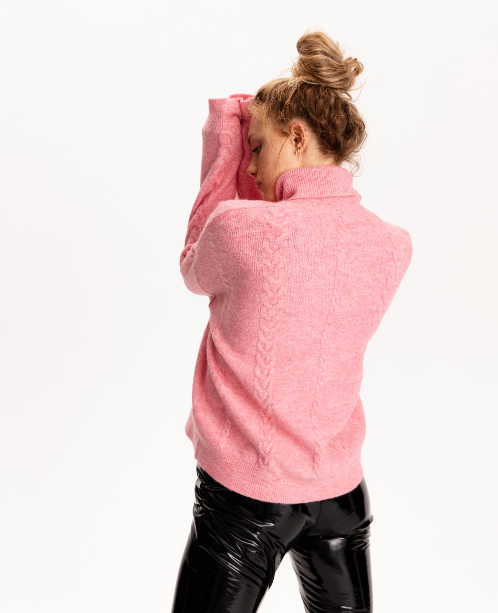 Pull col roulé torsadé rose pastel - Pimkie