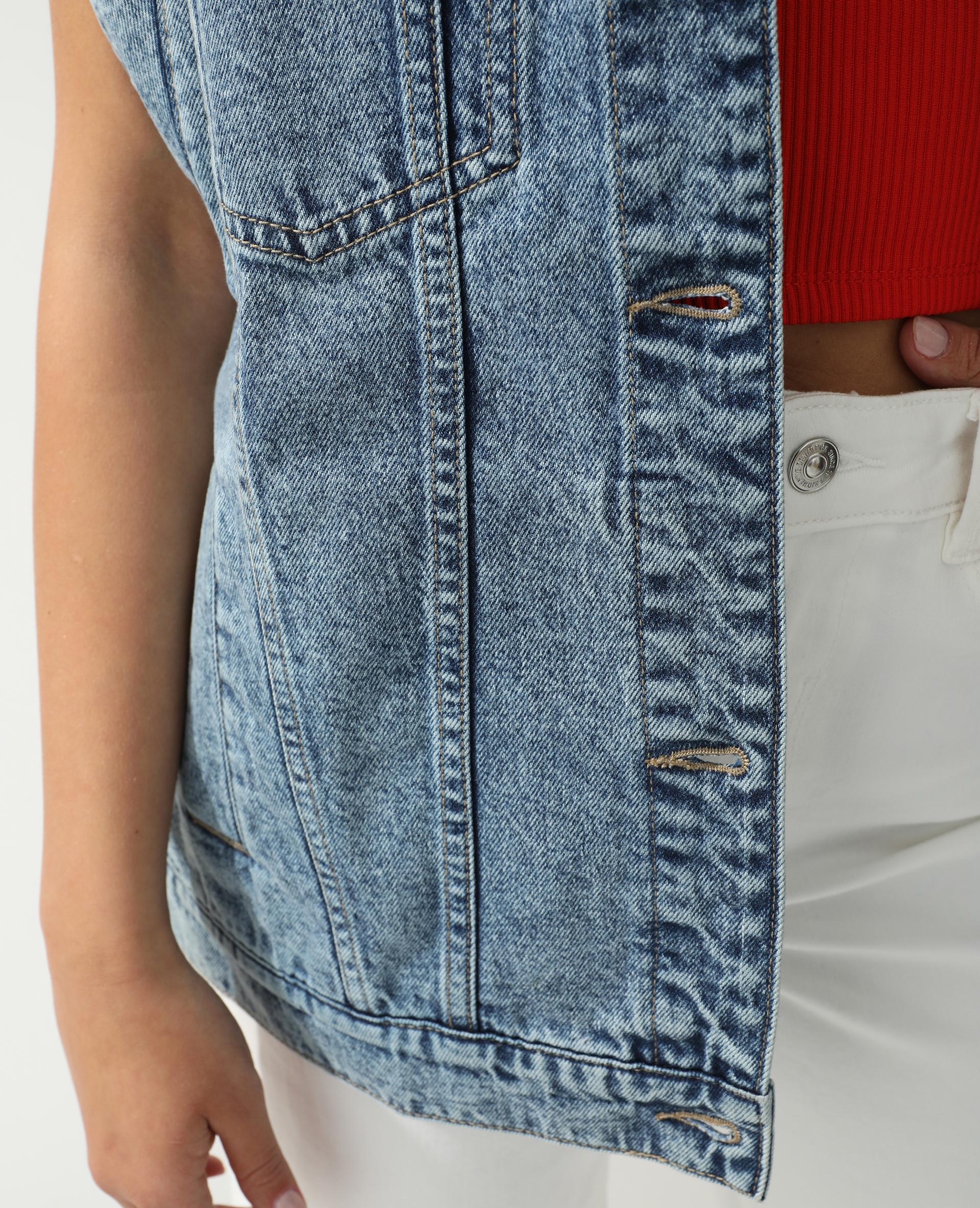 Veste en jean oversize bleu délavé - Pimkie